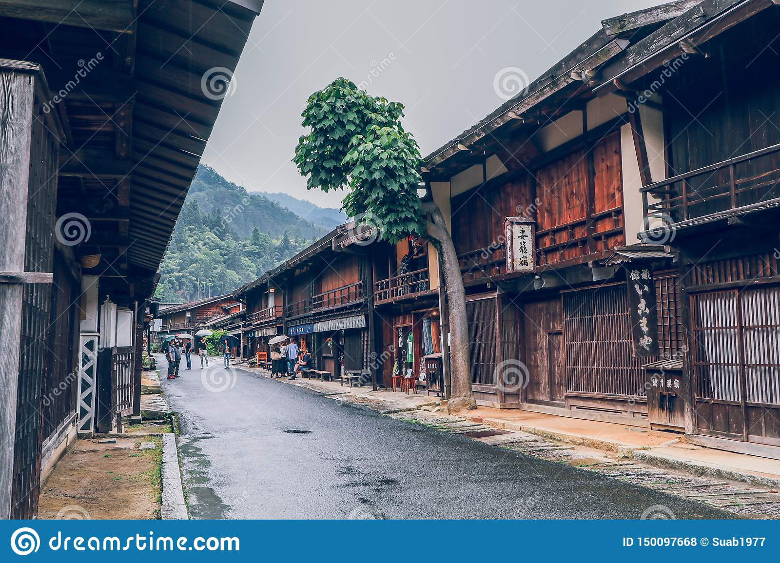 Kiso valley is the old town or Japanese traditional wooden houses for the travelers walking at historic old street in Narai-juku