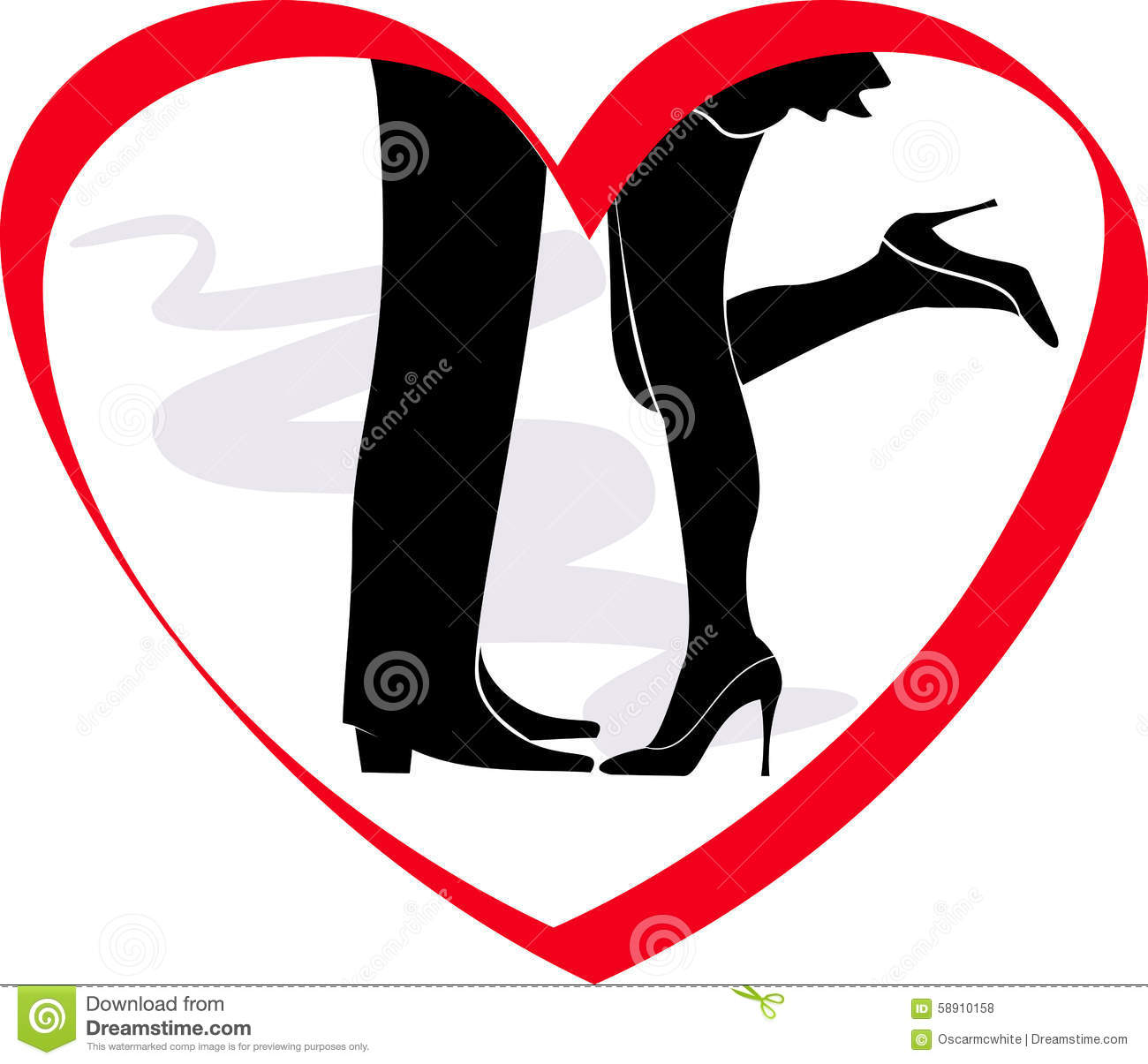 Kiss Loving Couple In A Frame Heart Stock Vector - Illustration of ...