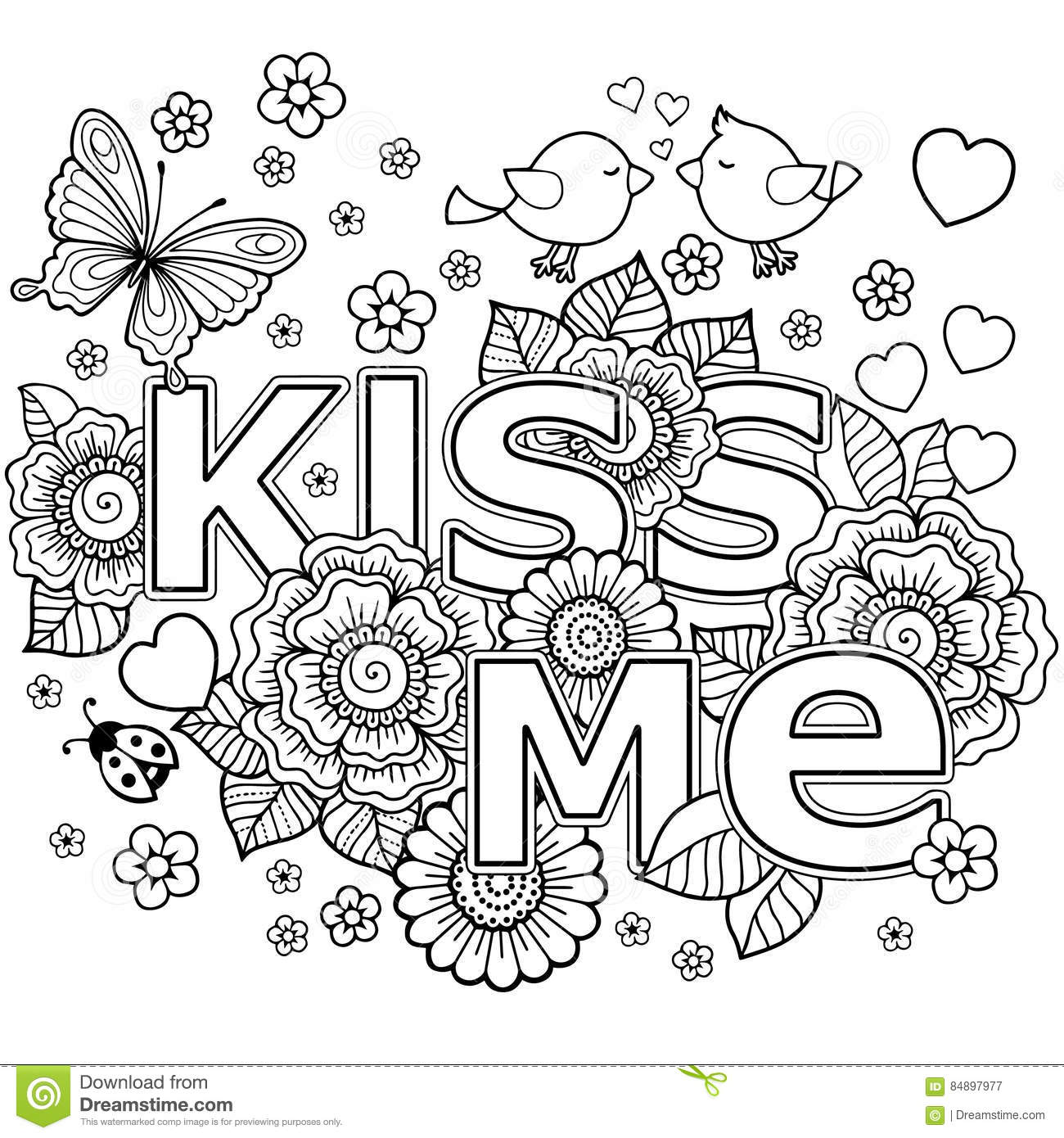 Kiss Me. Abstract Background Made Of Flowers, Butterflies, Birds ...