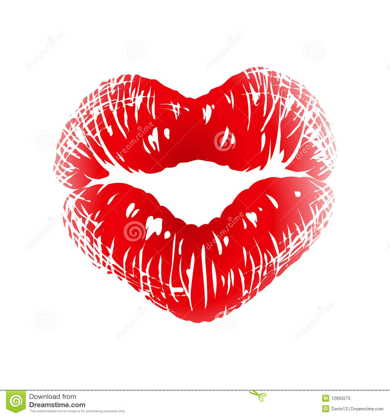 Kiss print in the shape of heart