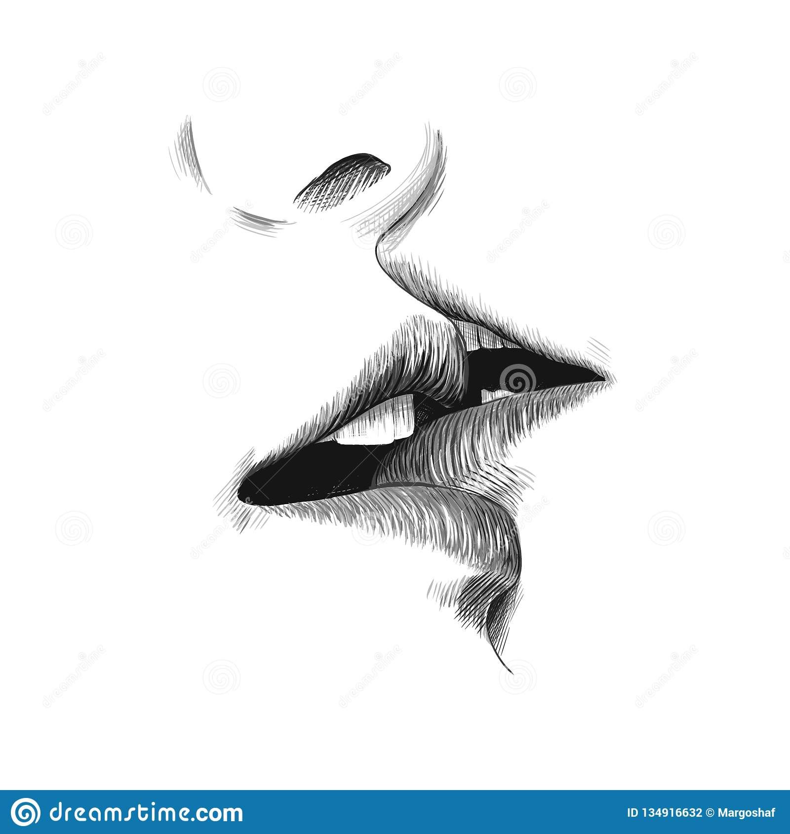 Kiss sketch vector illustration hand drawn black and white