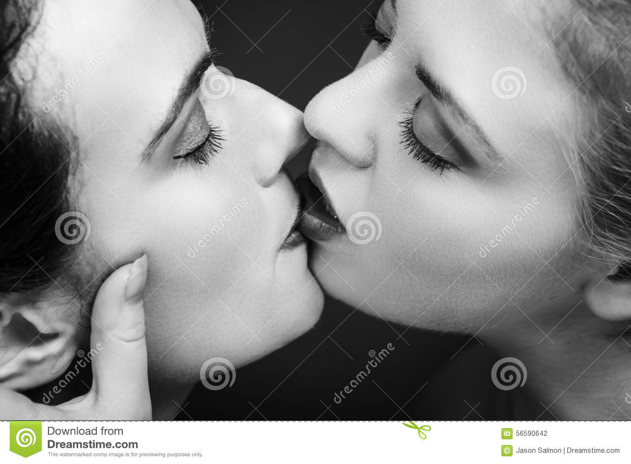 Naked a girl kissing Woman