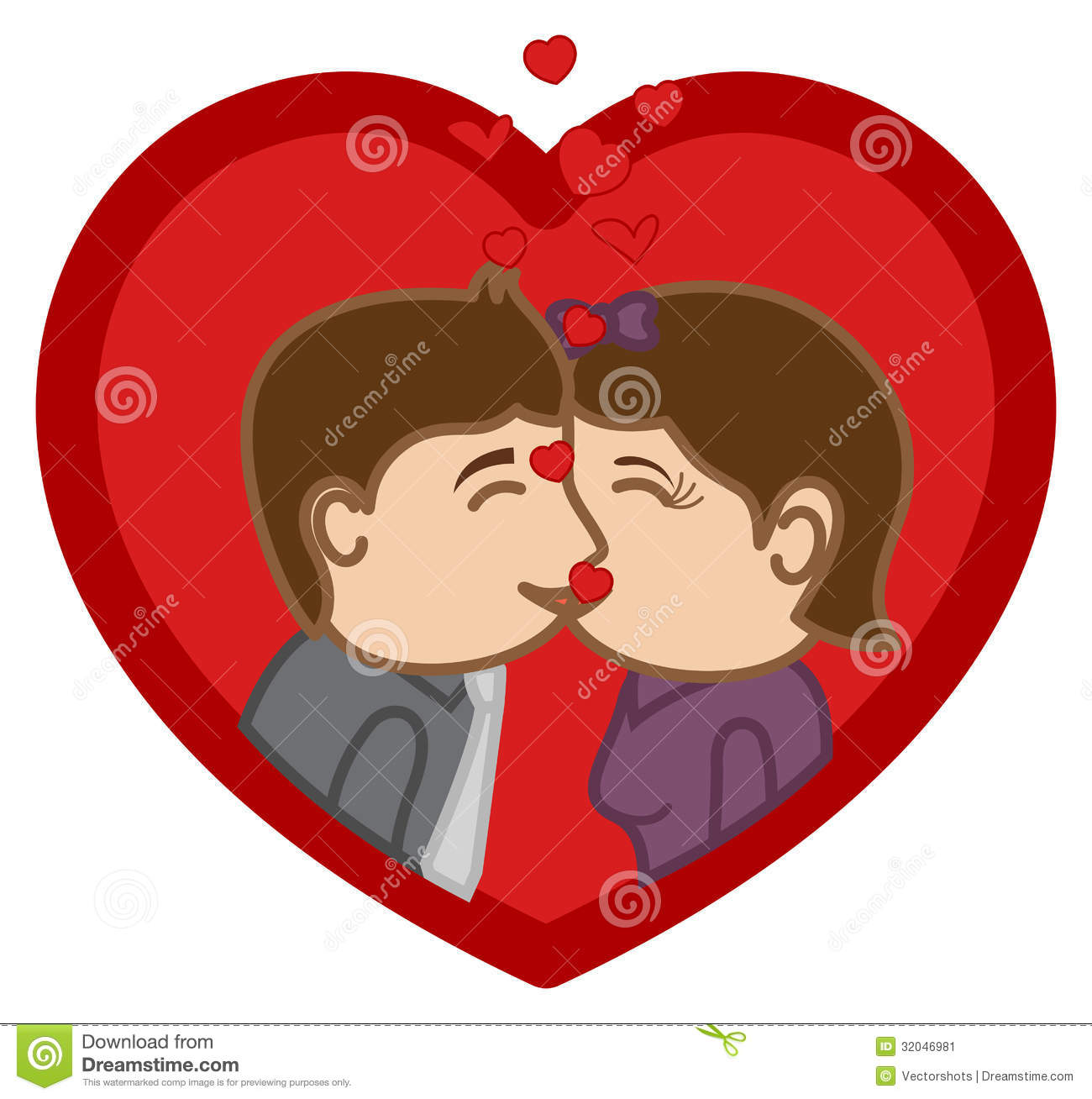 Cartoon Characters Kissing : Kissing cartoon character man woman stock image