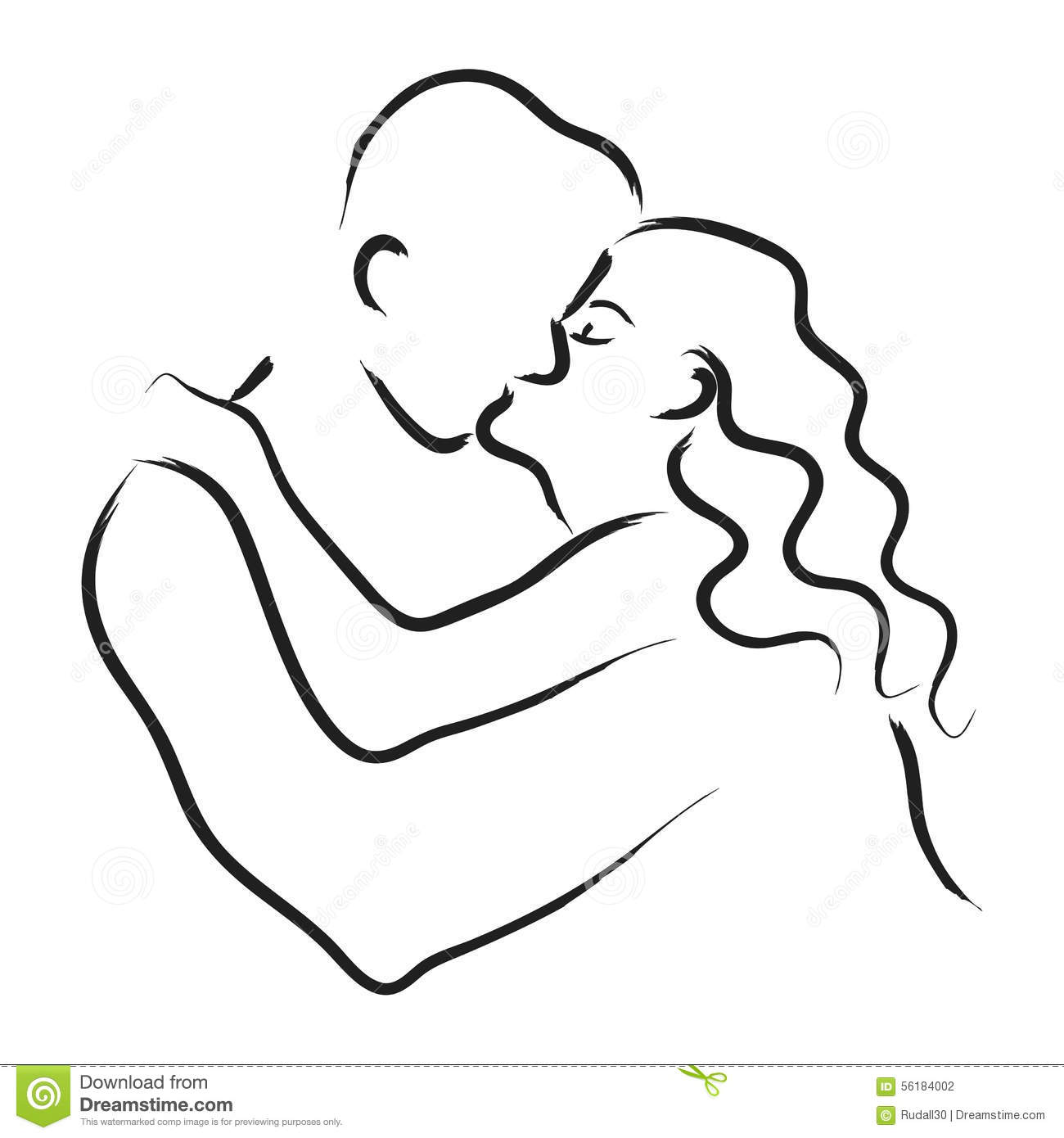 Line Art Kiss : Kissing couple stock vector image of male romance