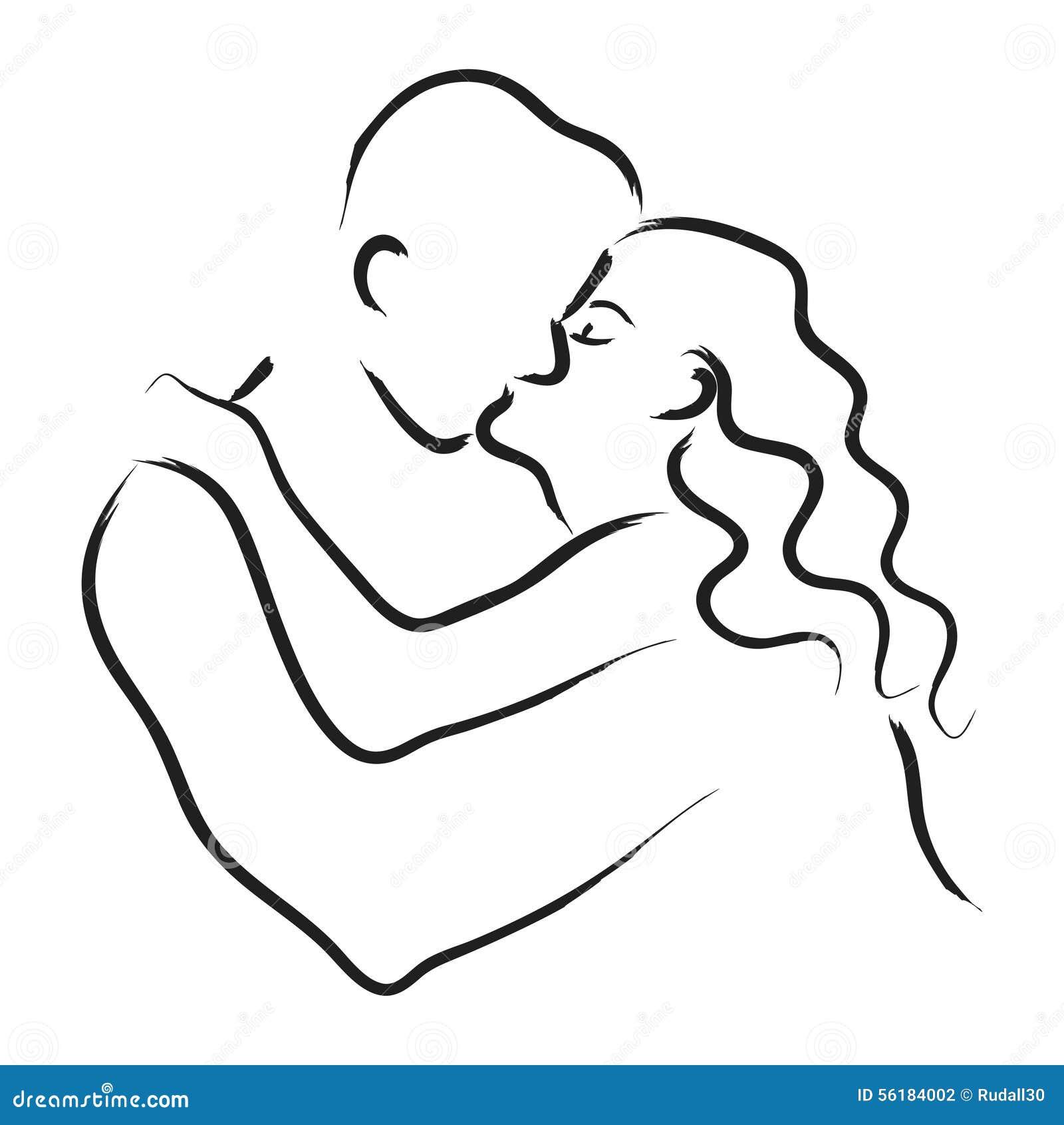 Line Drawing Couple : Line art of kissing couple cartoon vector cartoondealer