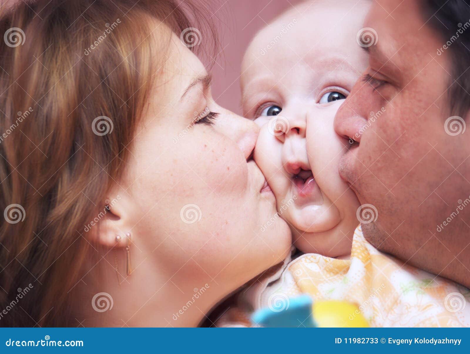 Kissing Family Stock Image  Image Of Kissing  Human