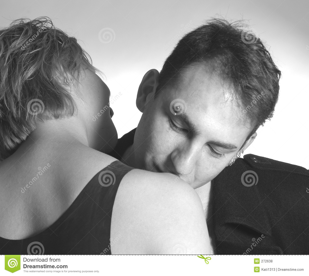 kissing her shoulder stock photo image of fall cute