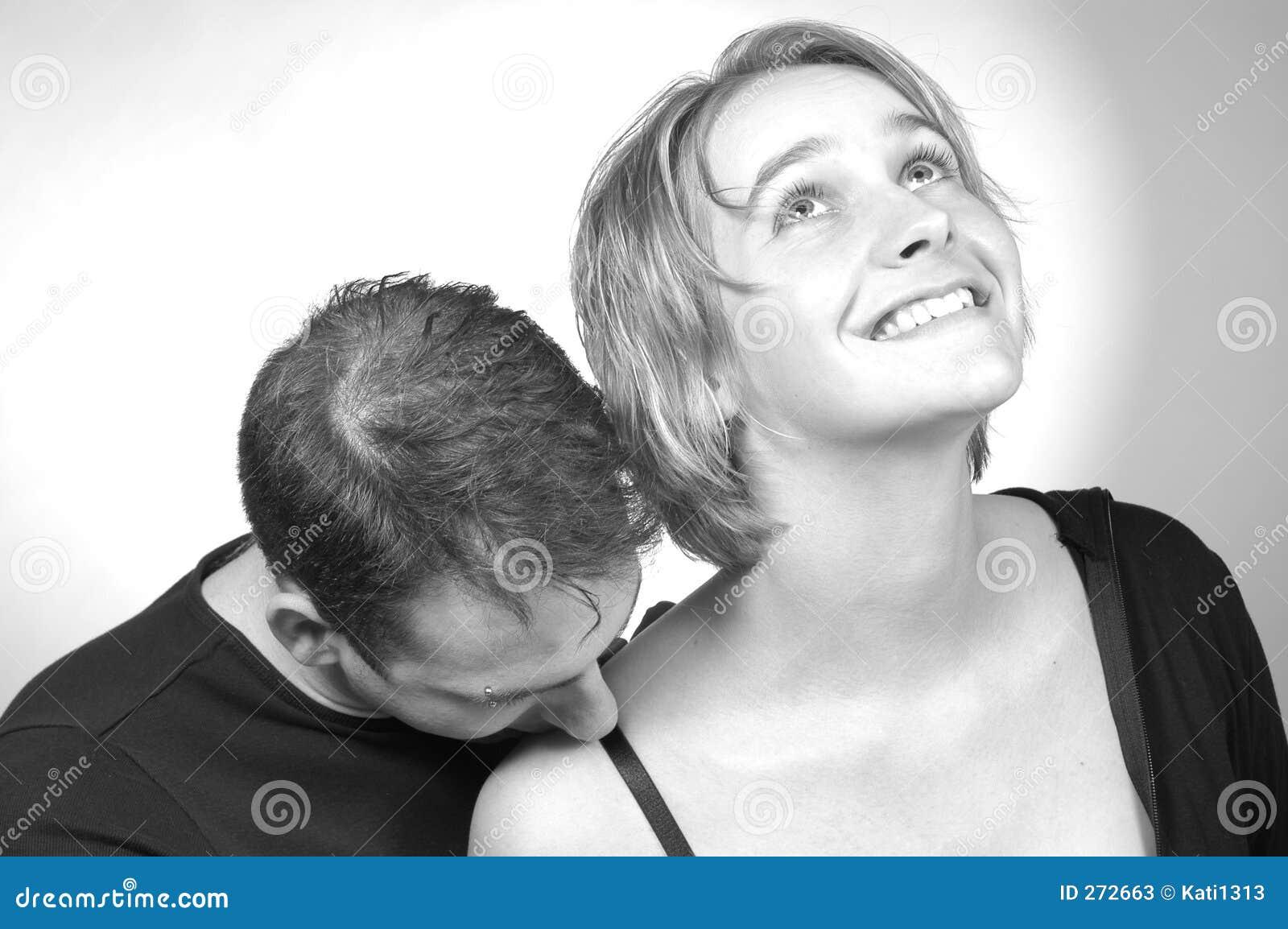 kissing her shoulder stock image image of eyes adult