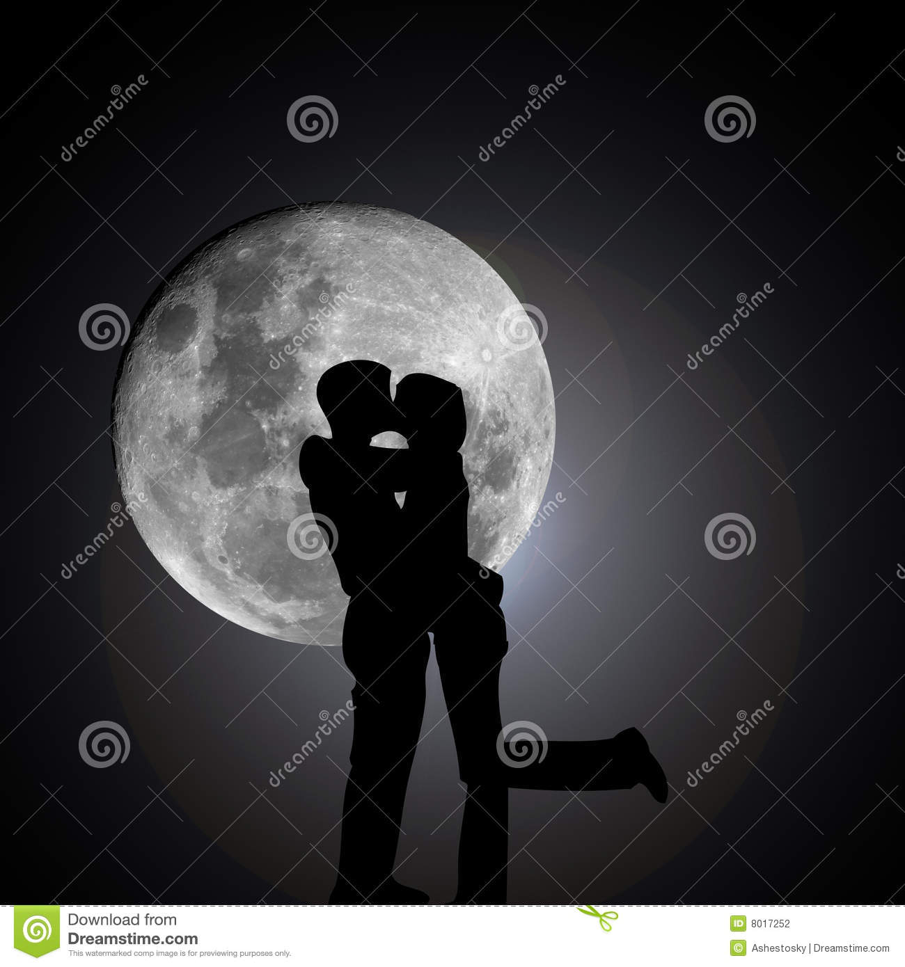 Kissing Lovers By Night With Moon Stock Photography