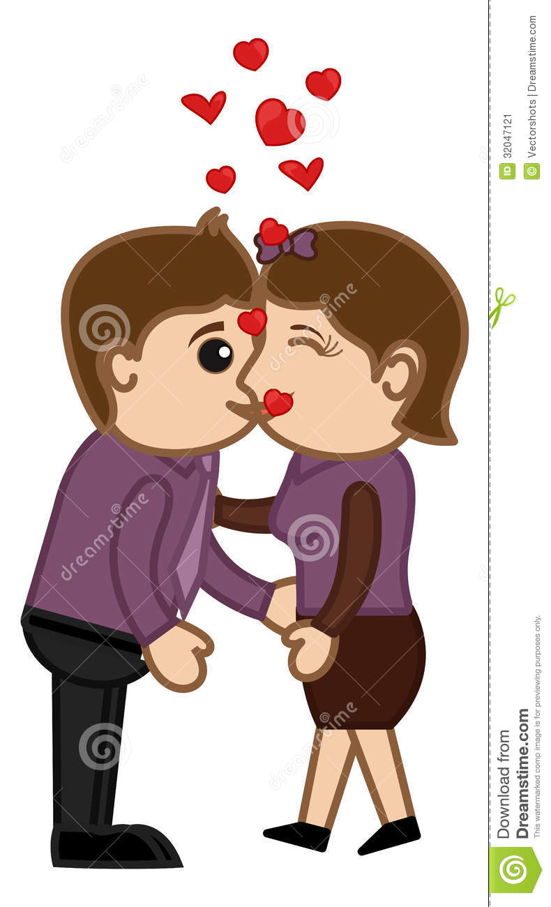 Cartoon Characters Kissing : Kissing man and woman cartoon characters stock image