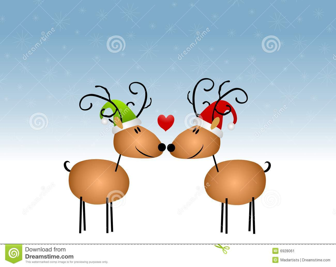 clip art illustration featuring a pair of cartoon reindeer kissing ...