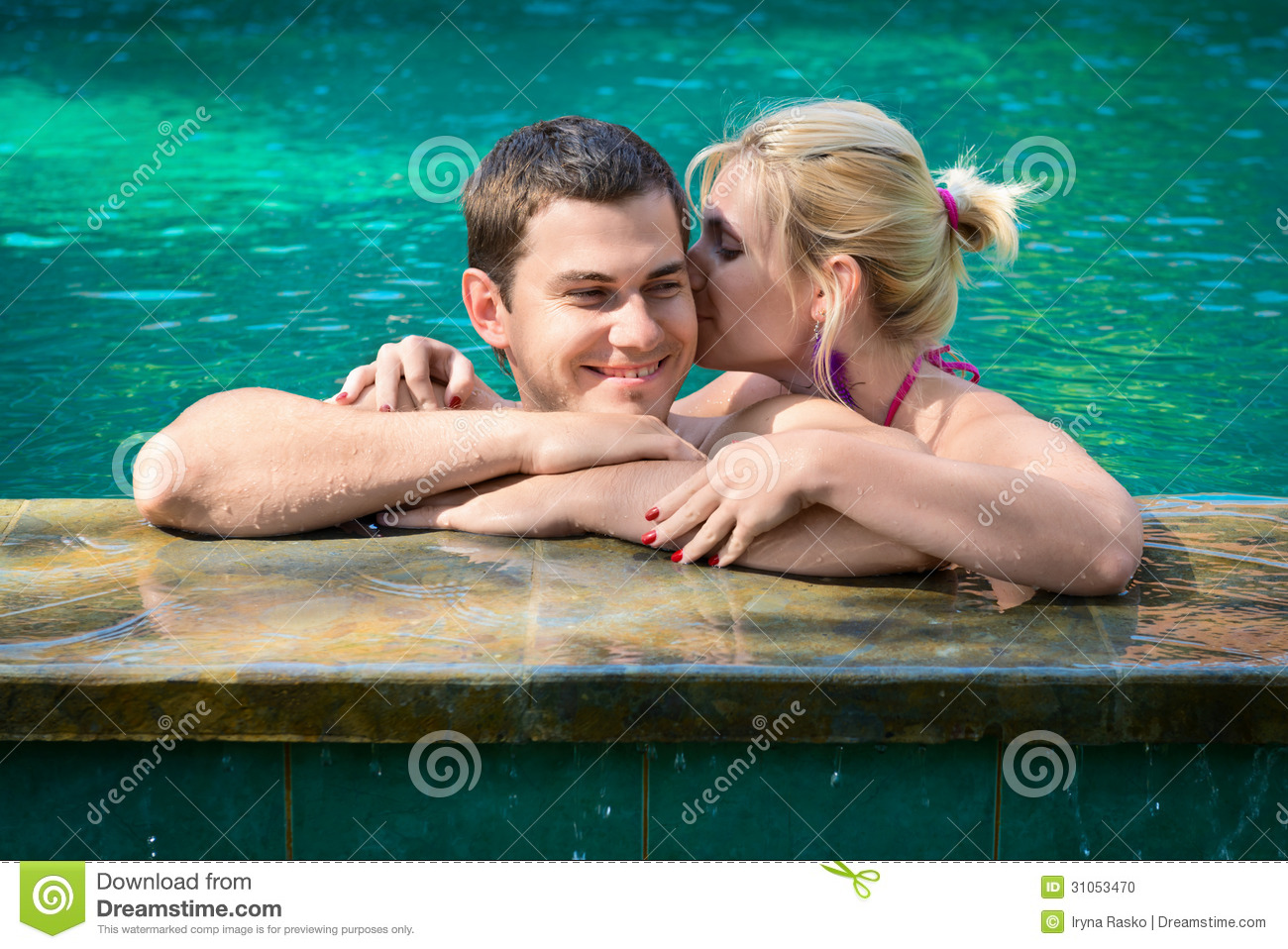 Kissing And Relaxing In A Swimming Pool Stock Photo Image 31053470