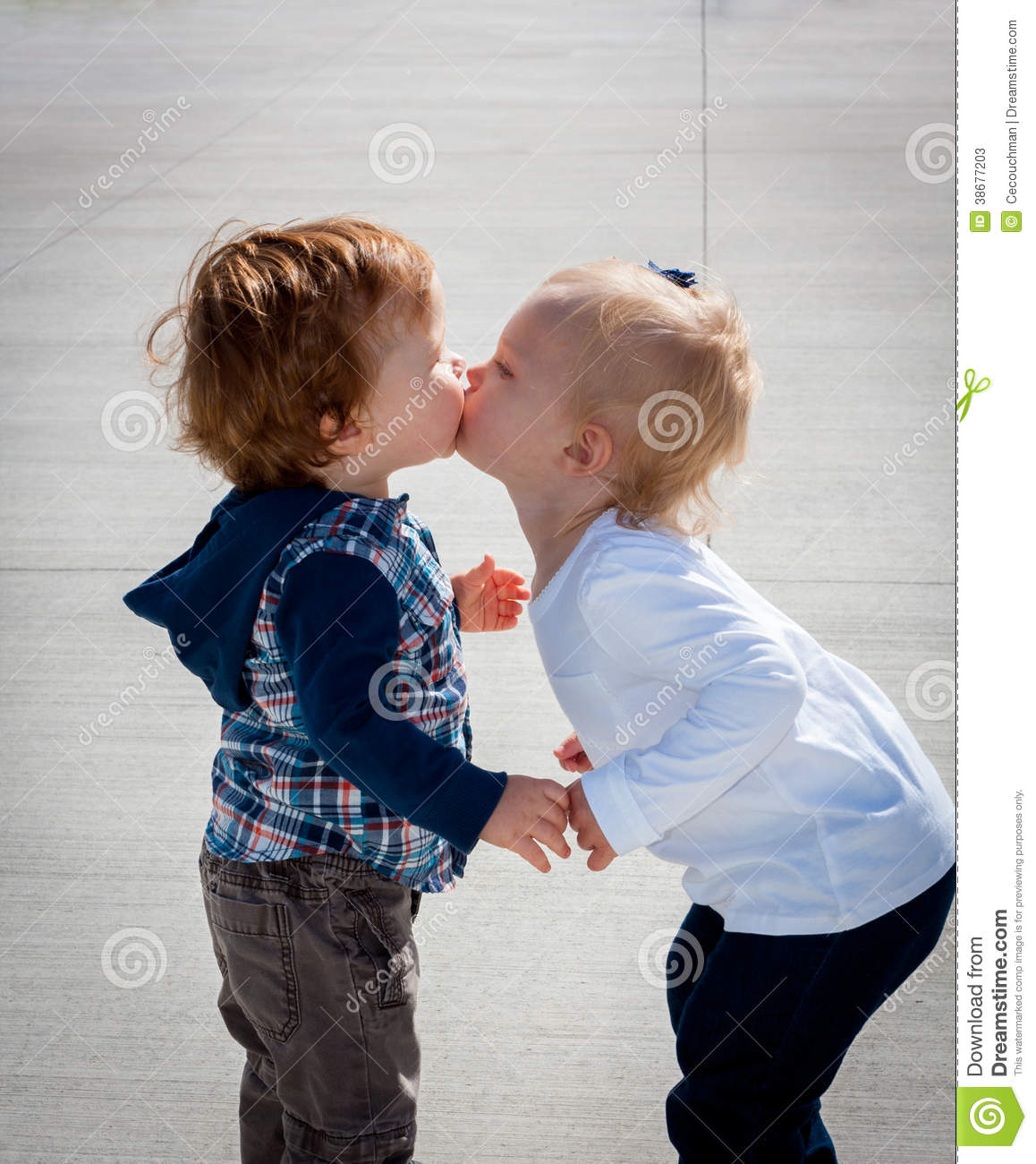 Kissing Toddlers Side View Standing Stock Photos Image