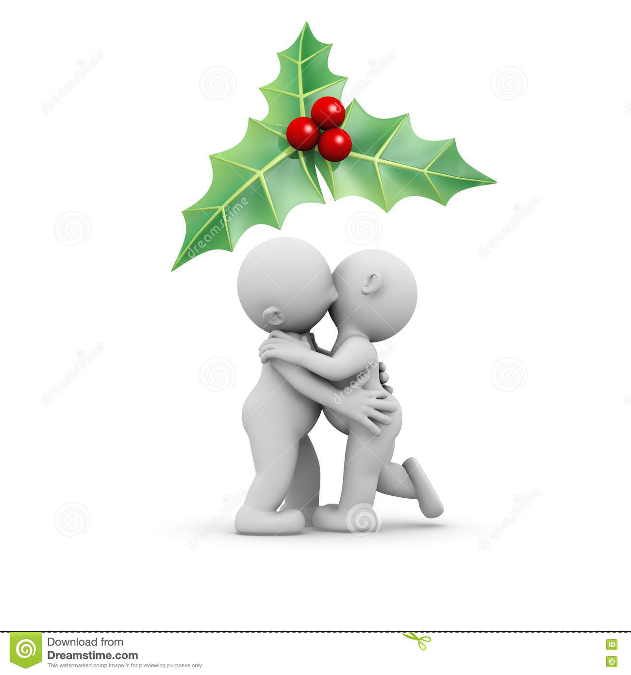 3d Humans Couple Kissing Under A Mistletoe