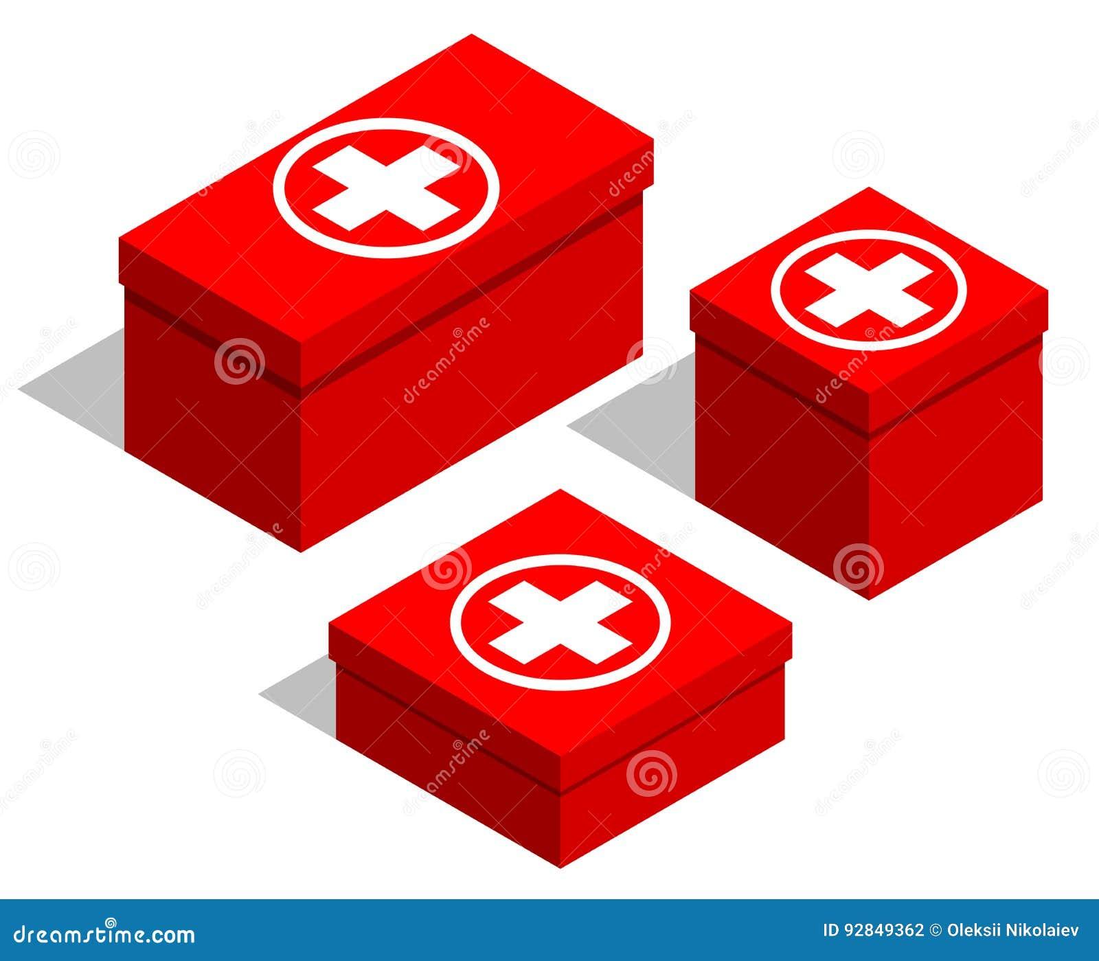 Kit de primeiros socorros médicos Grupo de caixas vermelhas com um símbolo médico na tampa Objetos isolados no fundo branco
