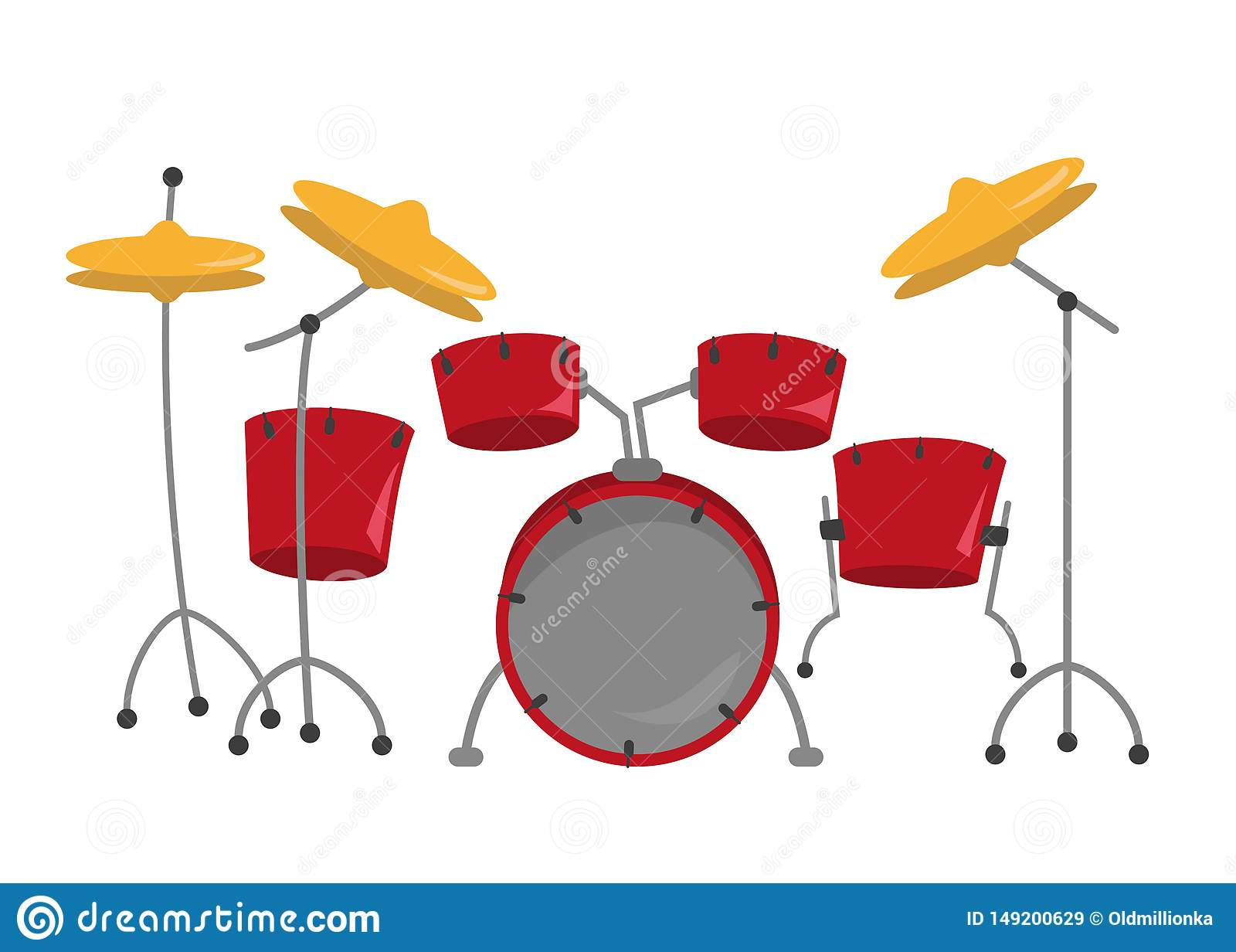 Kit de tambour sur le fond blanc