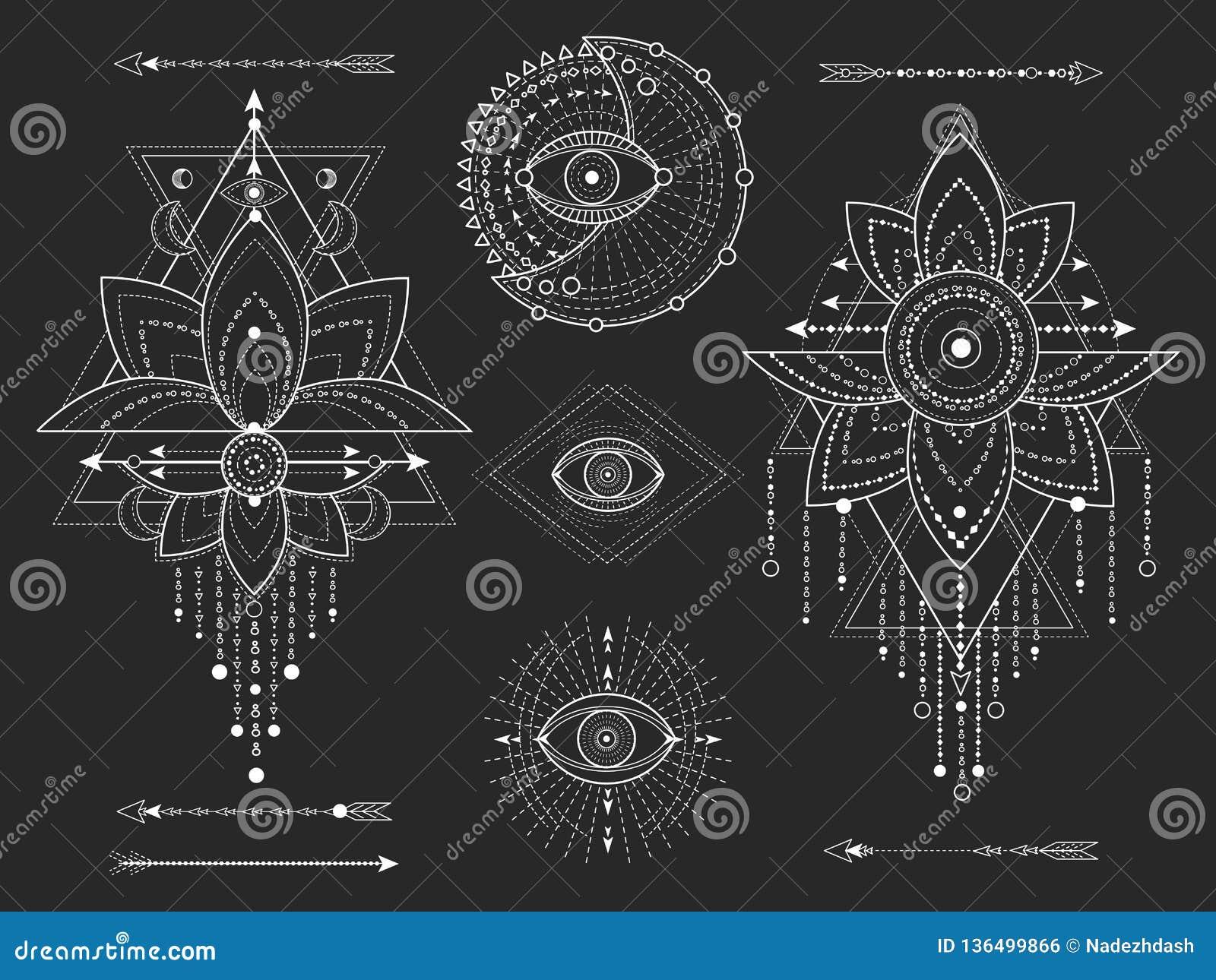 Kit de vecteur de symboles géométriques et naturels sacrés sur le fond noir Le mystique abstrait signe la collection