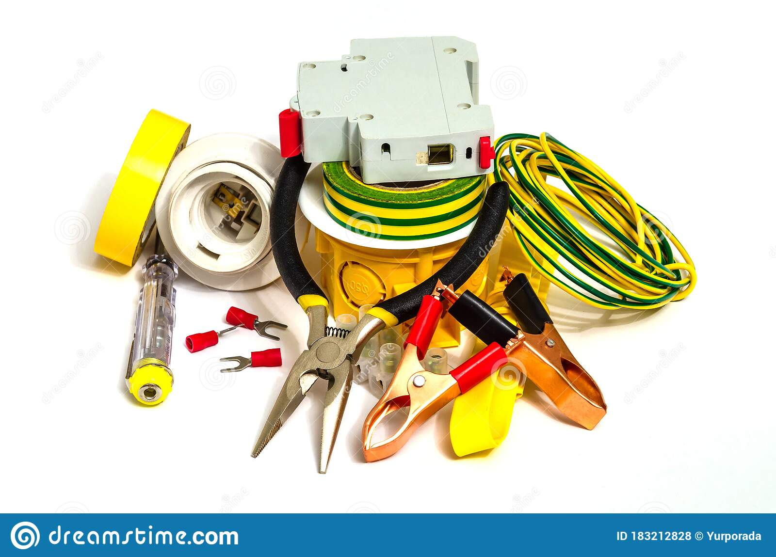 Kit Spare Parts And Tools For Electrical Repairs In Home Or Office On White Background Stock Photo Image Of Object Accessory 183212828