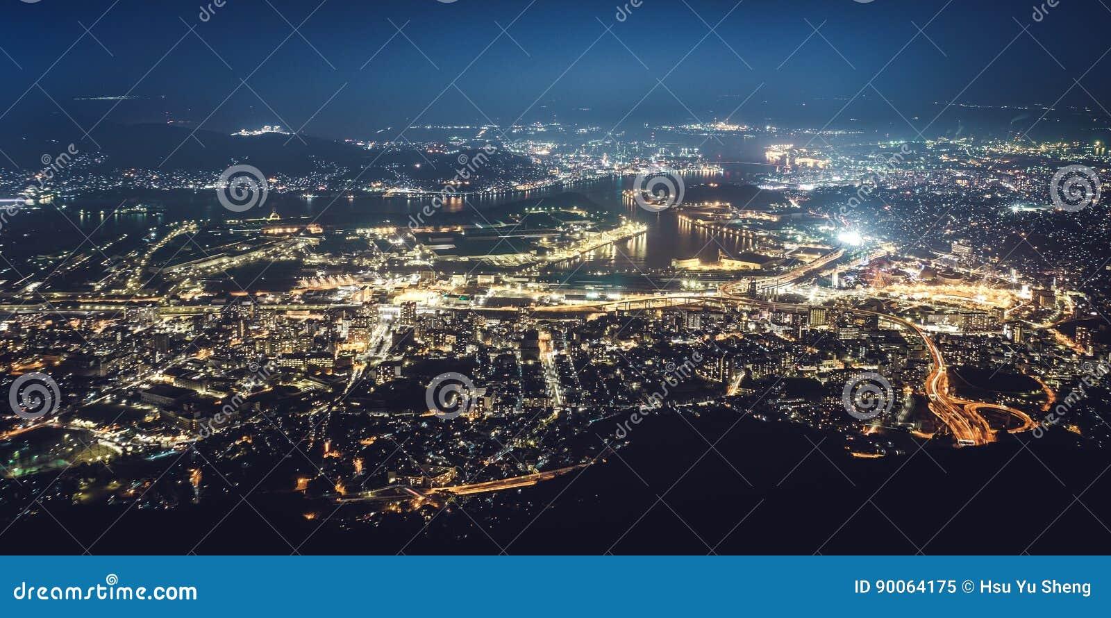 Kitakyushu Night View From Mt  Sarakura (Sarakurayama) In Kitakyushu
