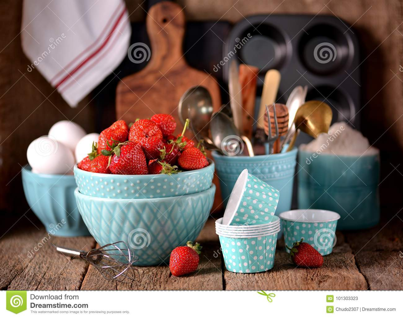 Kitchen Accessories For Cooking Muffins, Organic Strawberries And ...