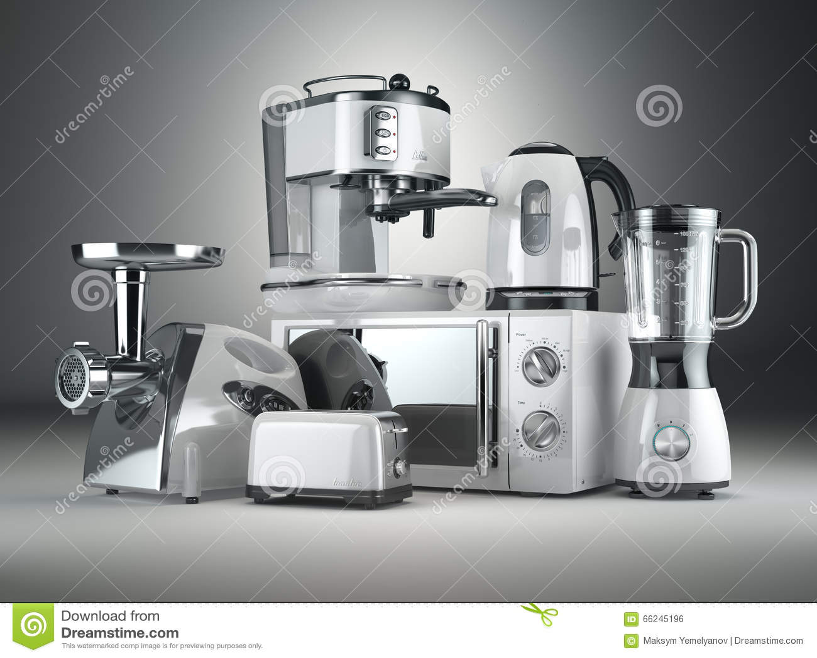 Download Kitchen Appliances. Blender, Toaster, Coffee Machine, Meat Ginde Stock Illustration - Illustration of electrical, kitchenware: 66245196