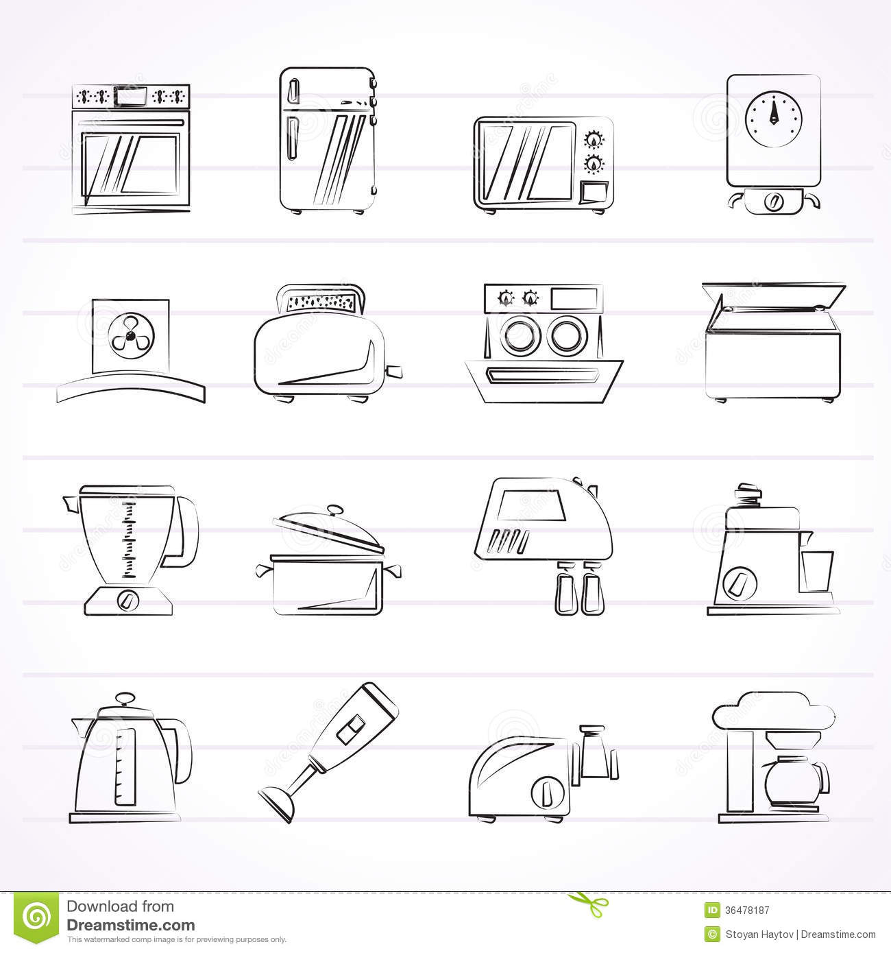 Kitchen Appliances And Equipment Icons Royalty Free Stock Photography Image