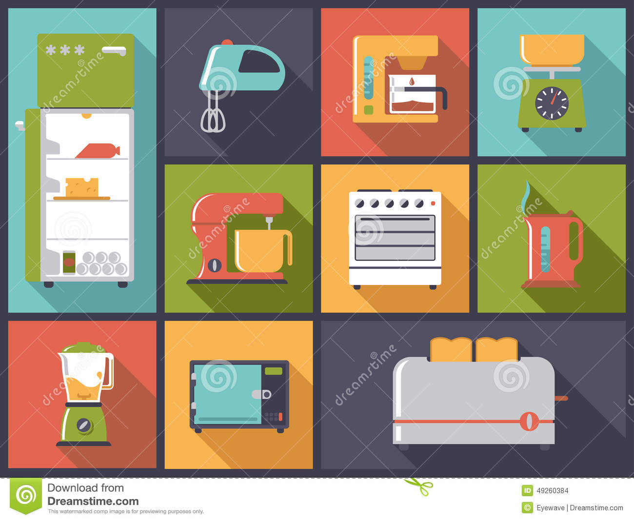 Appliances and various means for cleaning stock image for Kitchen design vector