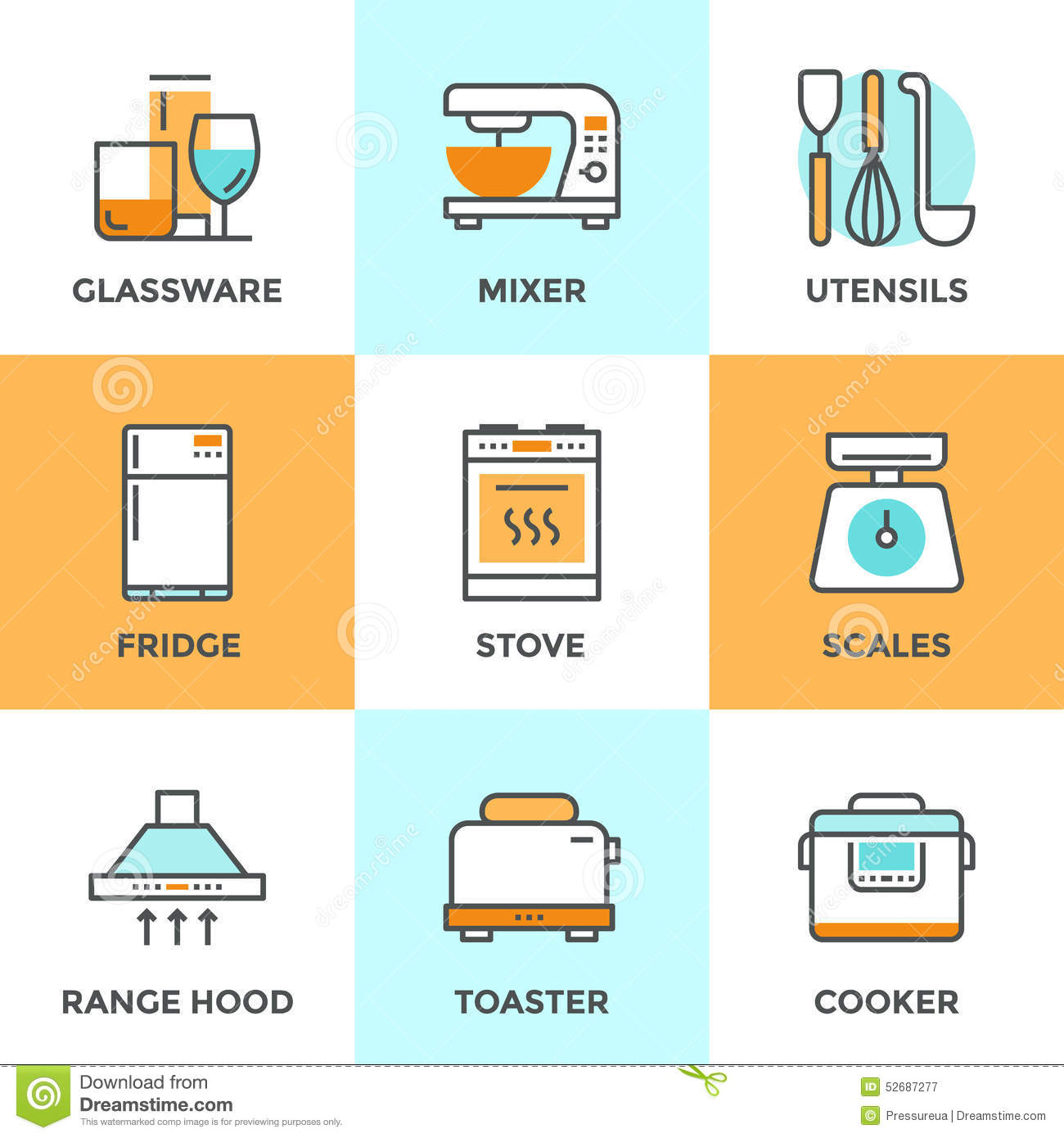 Kitchen Appliances Line Icons Set Stock Vector - Illustration of ...