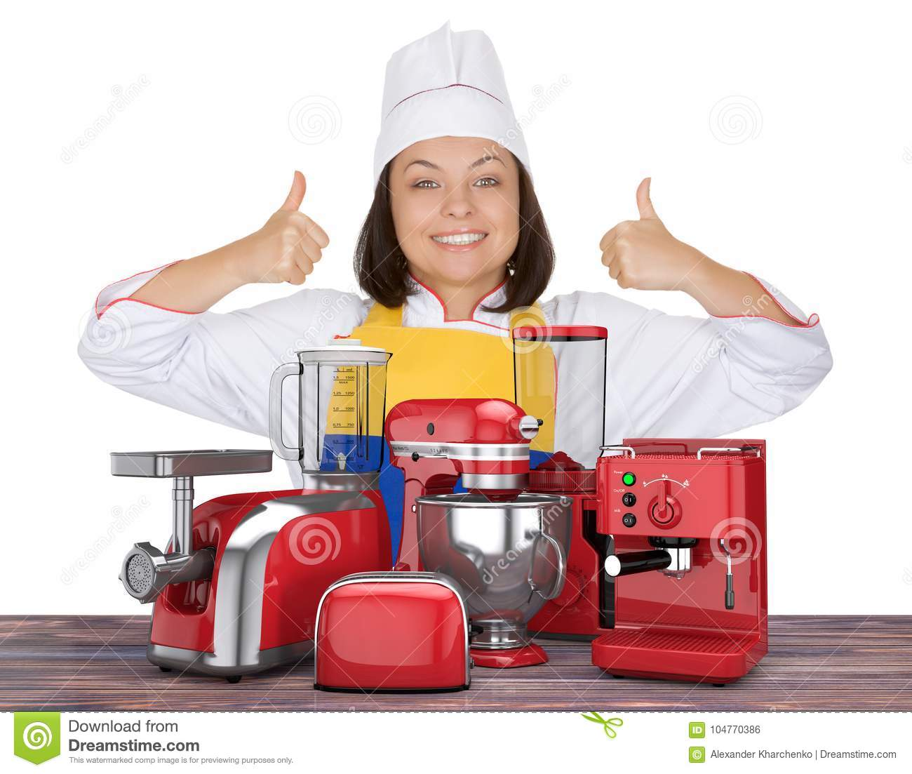 Kitchen Appliances Set Beautiful Young Woman Chef Show Thumbs U