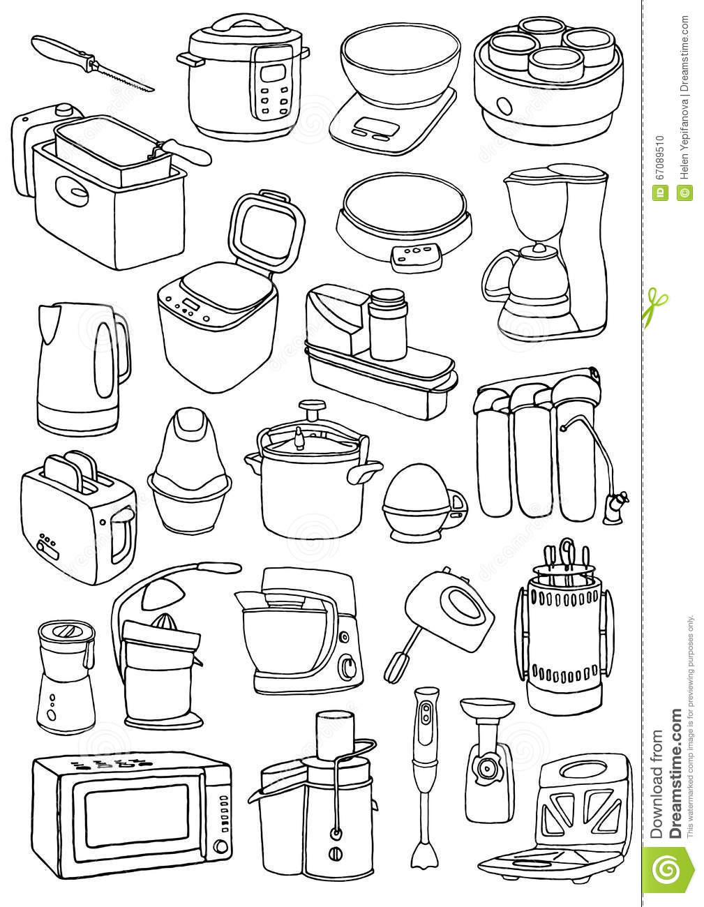 Kitchen appliances set kitchen appliances doodle stock for Kitchen set drawing