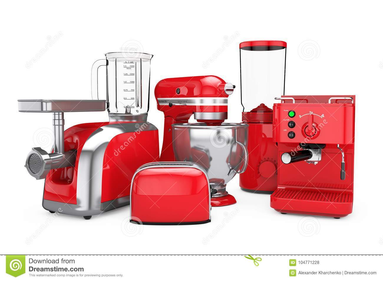 Download Kitchen Appliances Set. Red Blender, Toaster, Coffee Machine, Me  Stock Illustration