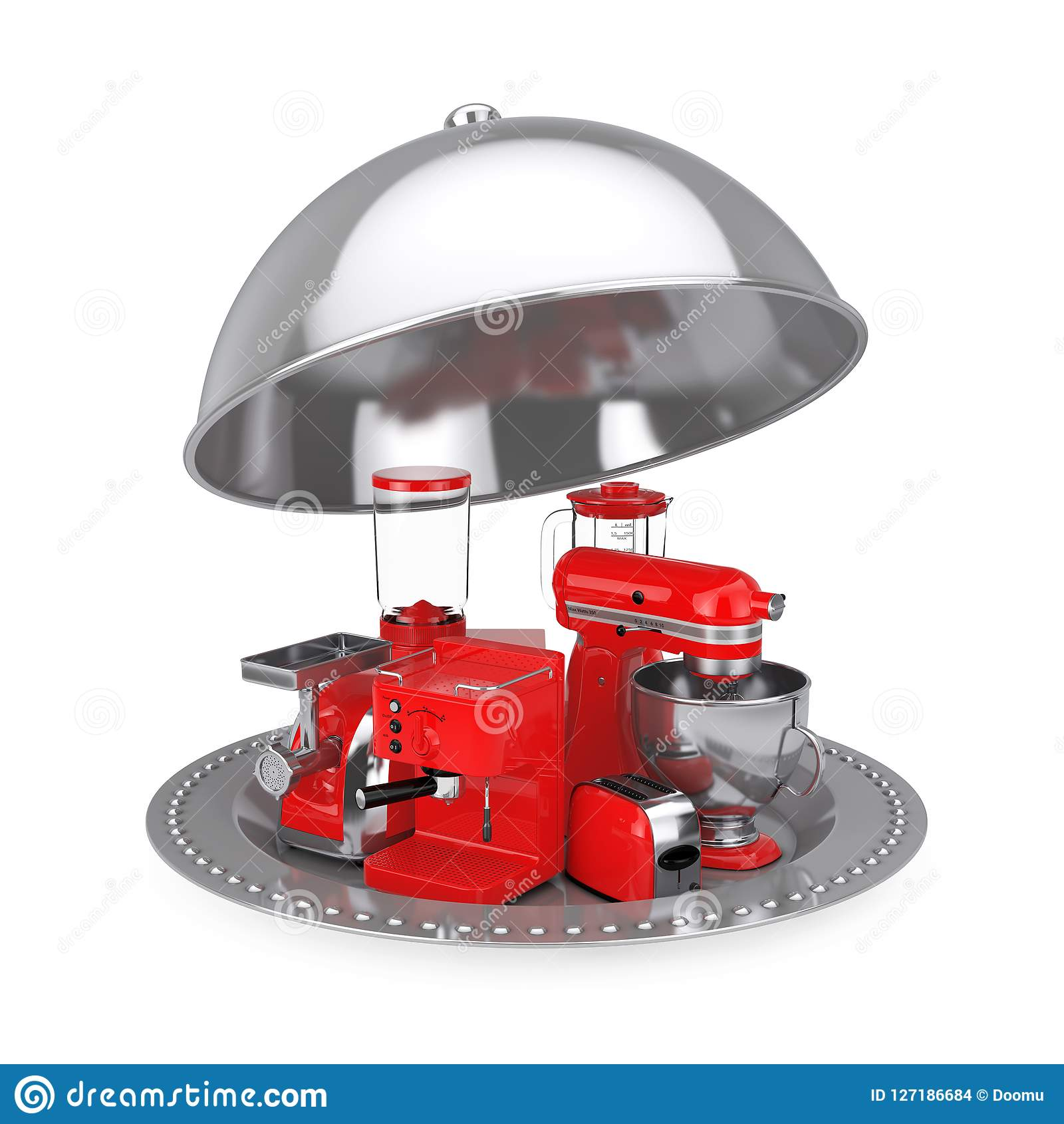 Kitchen Appliances Set. Red Blender, Toaster, Coffee Machine, Me