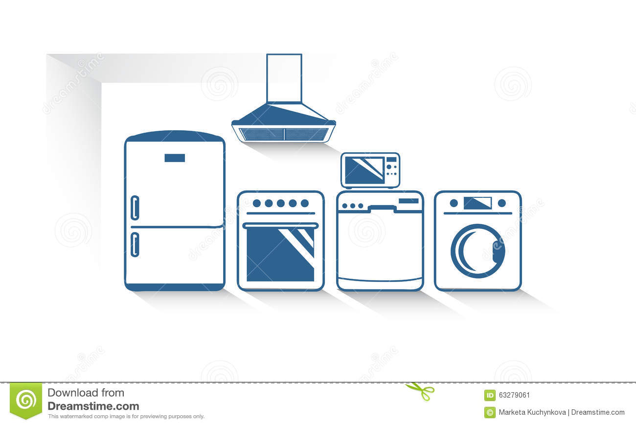 The kitchen appliances vector graphic stock vector image for Kitchen design vector