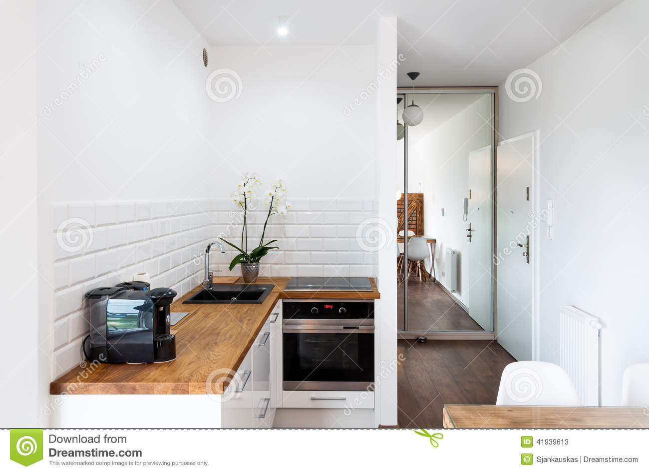 kitchen area in hotel apartment stock photo - image: 41939613