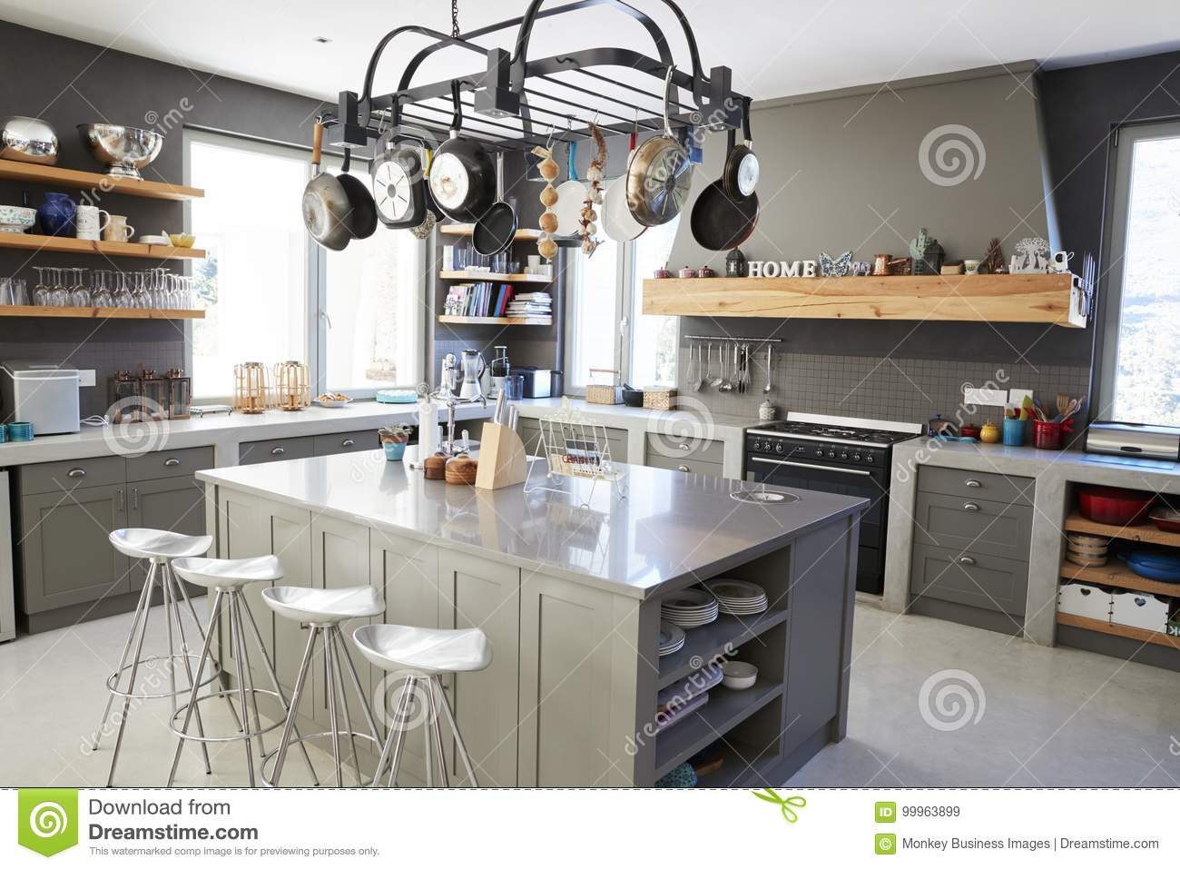 Kitchen Area Of Modern Home Interior With Island And ...