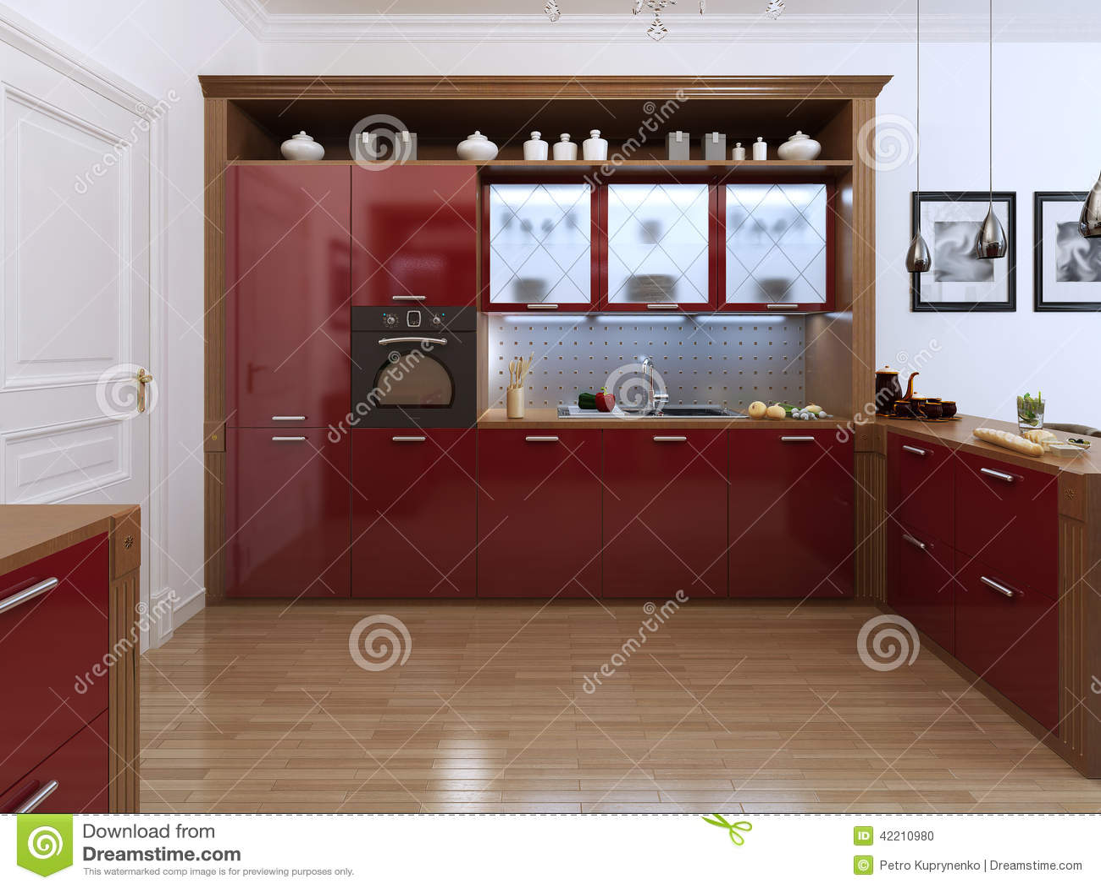Art Deco Stijl : Kitchen in the art deco style stock illustration illustration of