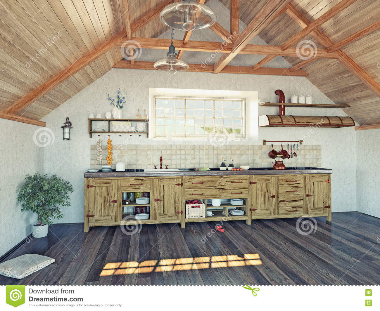 Kitchen in the attic stock illustration image 48773617 for Attic kitchen designs