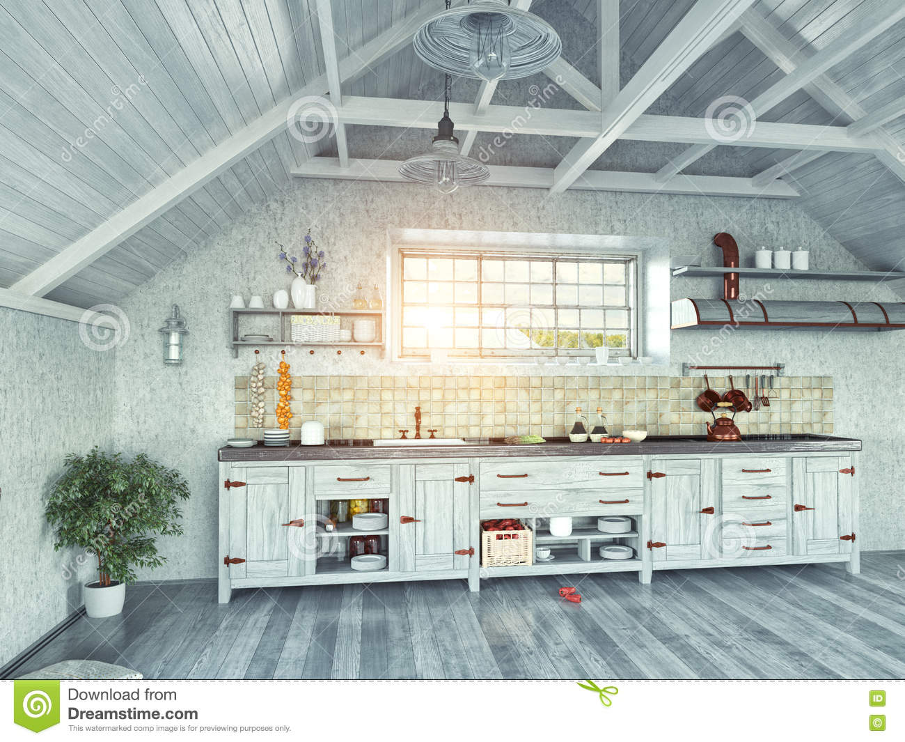 Attic Kitchen Kitchen In The Attic Stock Illustration Image 48773697