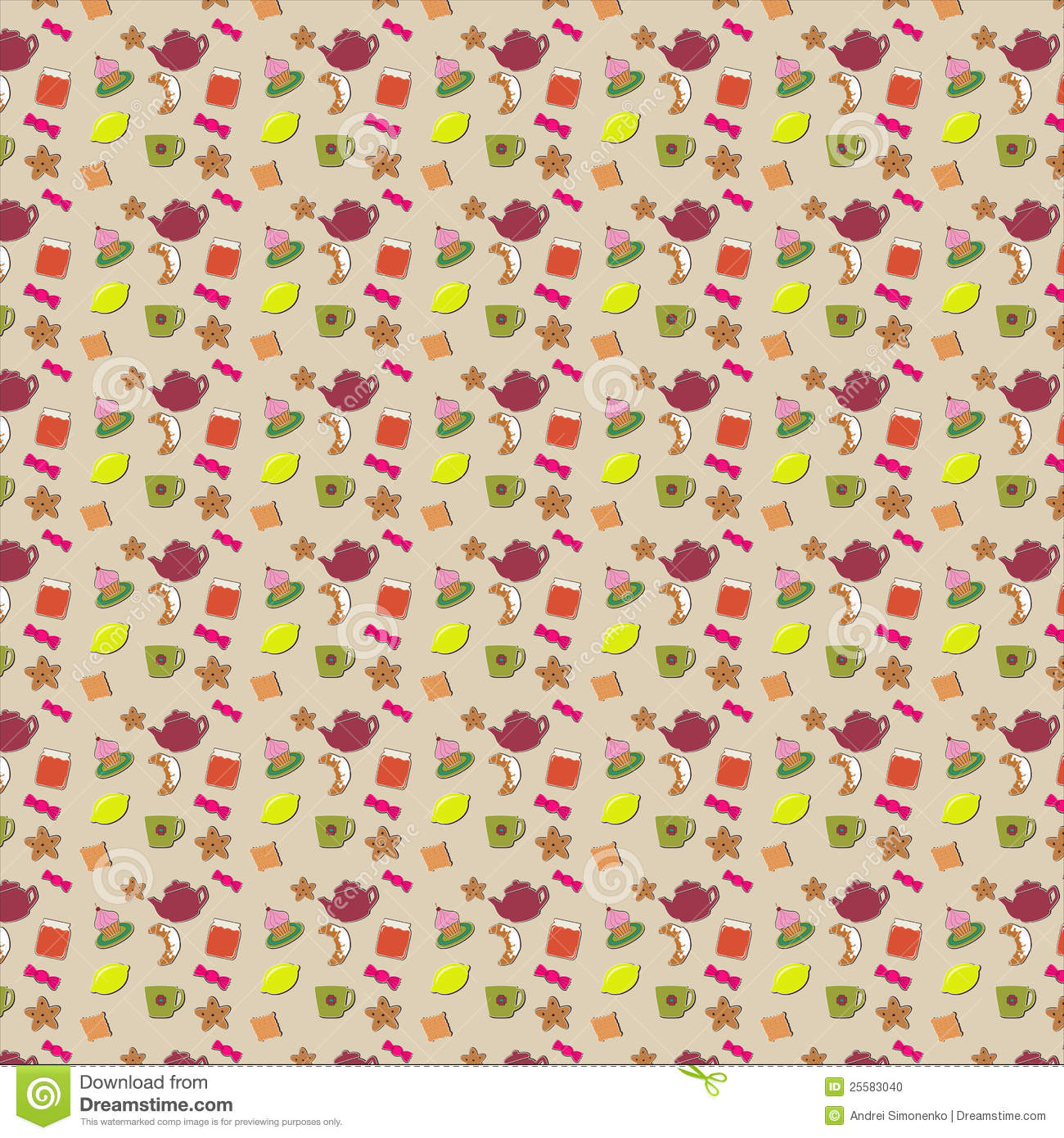 Kitchen Tea Background: Tea Party Kitchen Tools Seamless Pattern Cartoon Vector