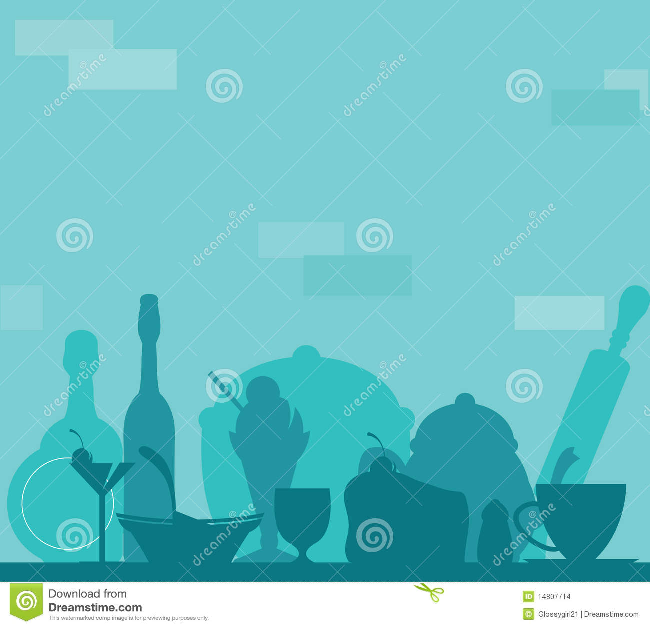 Kitchen Background, Food And Drink Stock Vector