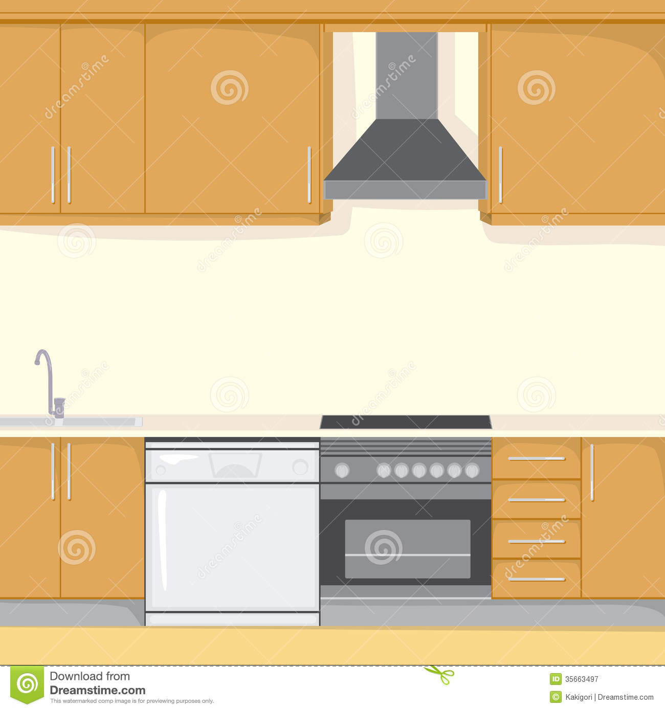 Kitchen Background Stock Vector. Illustration Of Cookware