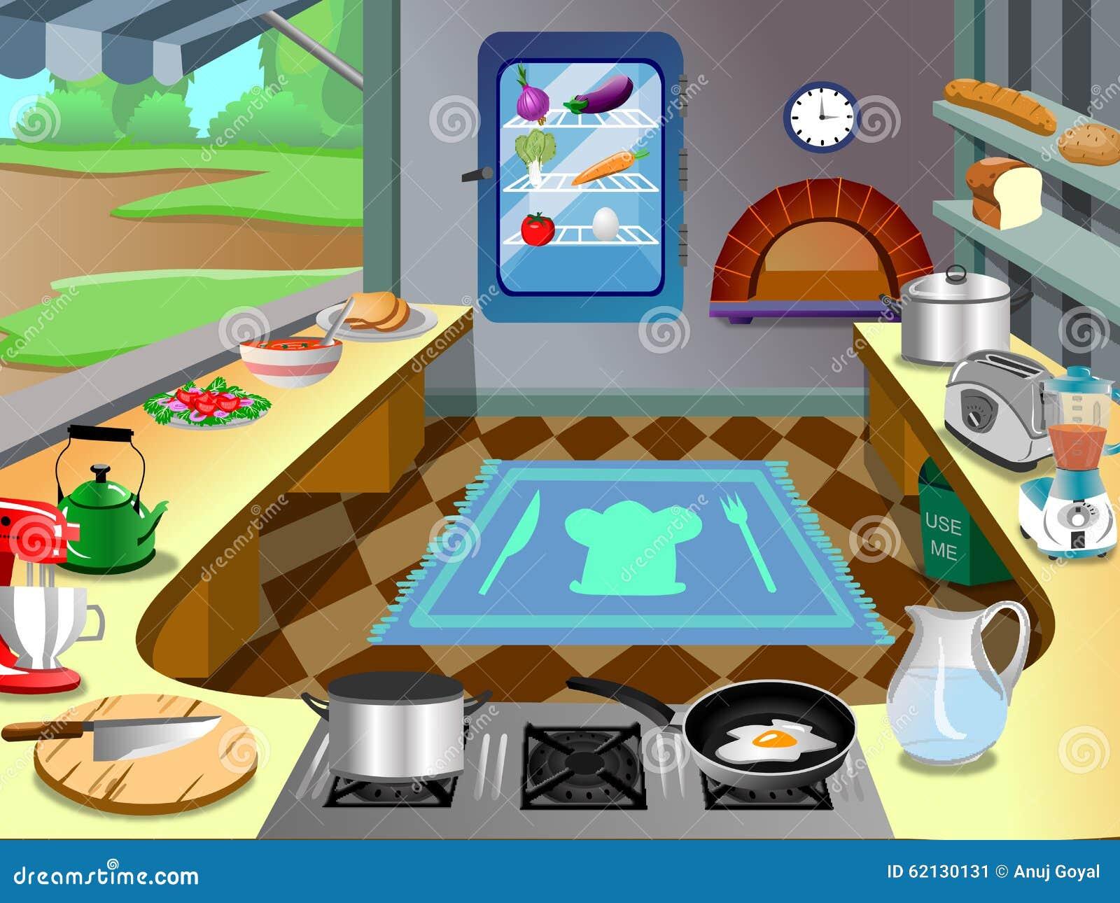 Kitchen Background Inside Wagon Vector Stock Vector - Illustration ...