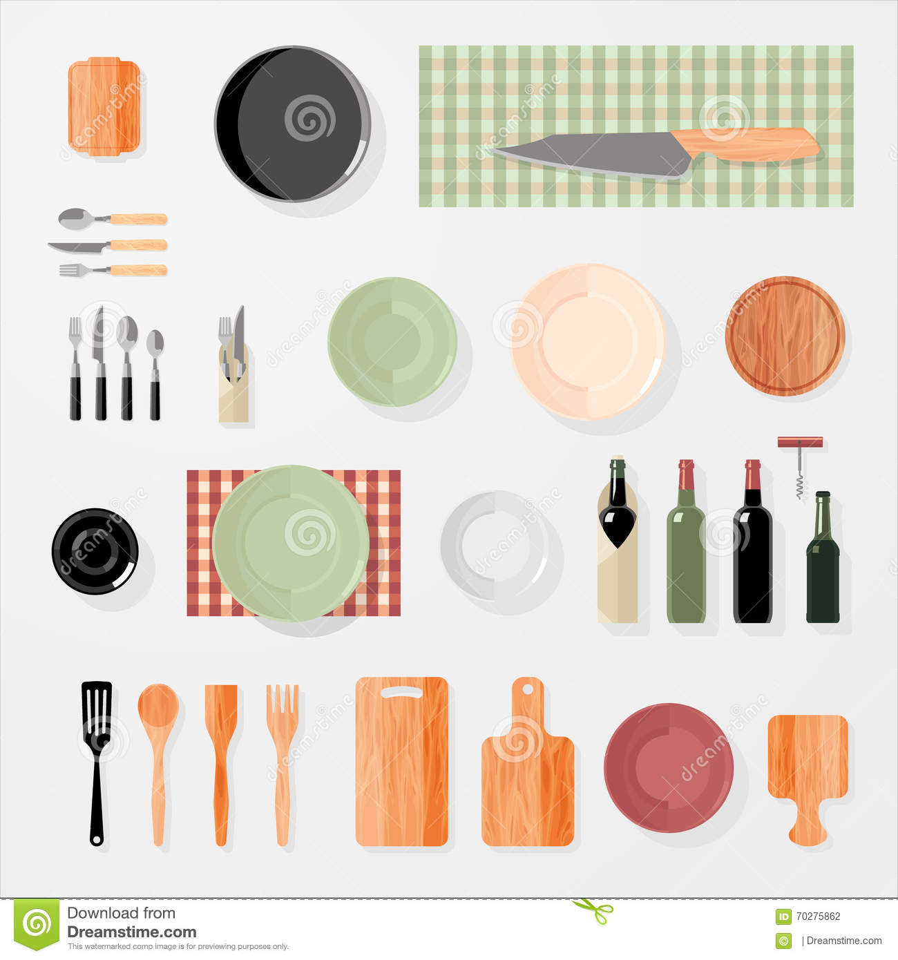 Kitchen bar restaurant design elements vector for Kitchen set up for restaurant