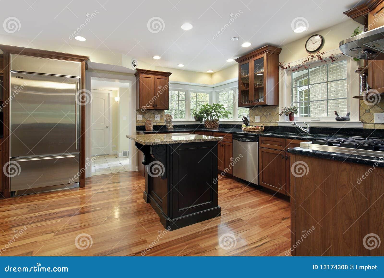 Kitchen Granite Island Kitchen With Black And Granite Island Stock Photo Image 13174300