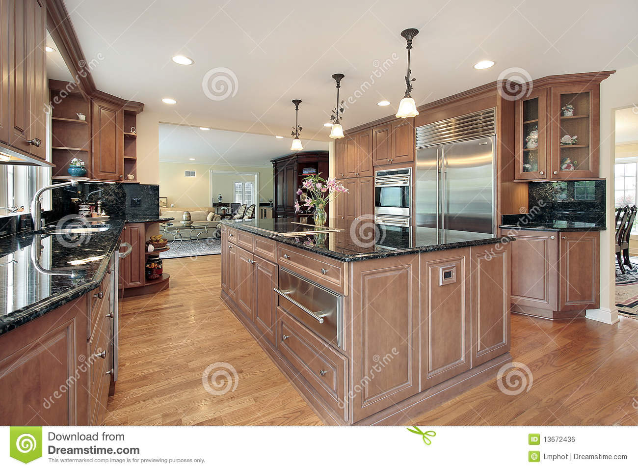 Kitchen With Black Marble Countertops Royalty Free Stock Image ...