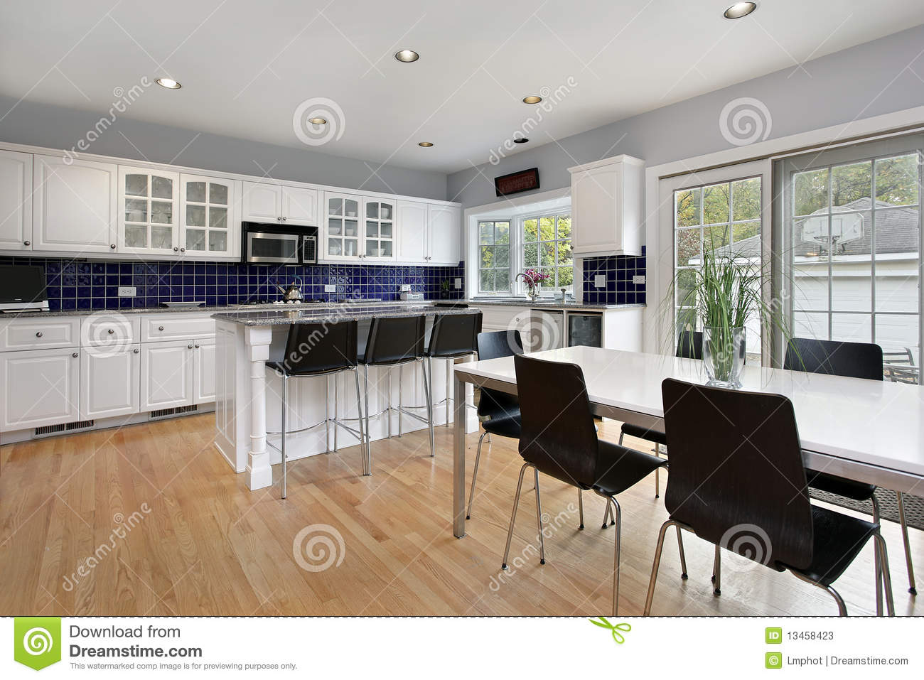 Kitchen With Blue Tile Backsplash Stock Image Image Of Luxury Appliance 13458423