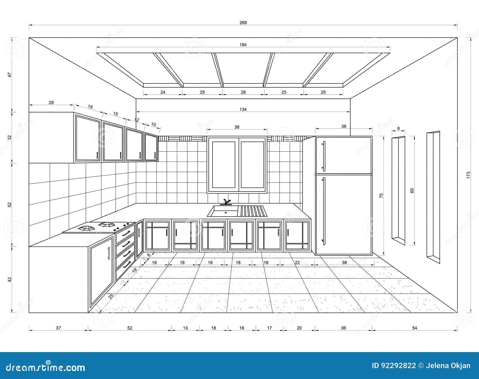 Kitchen Blueprint 3d Perspective Stock Illustration