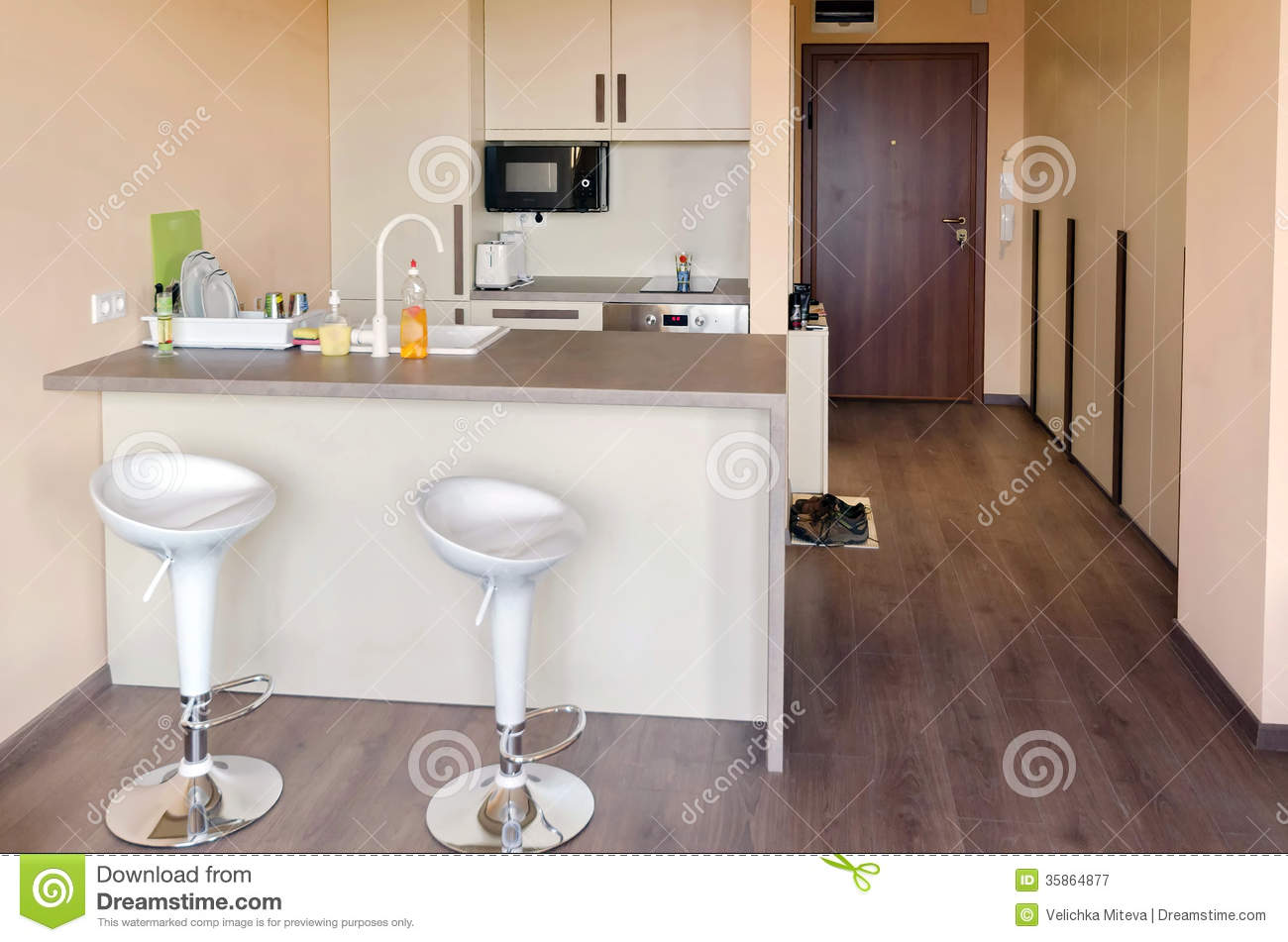 Kitchen Box In Small Living Room Royalty Free Stock