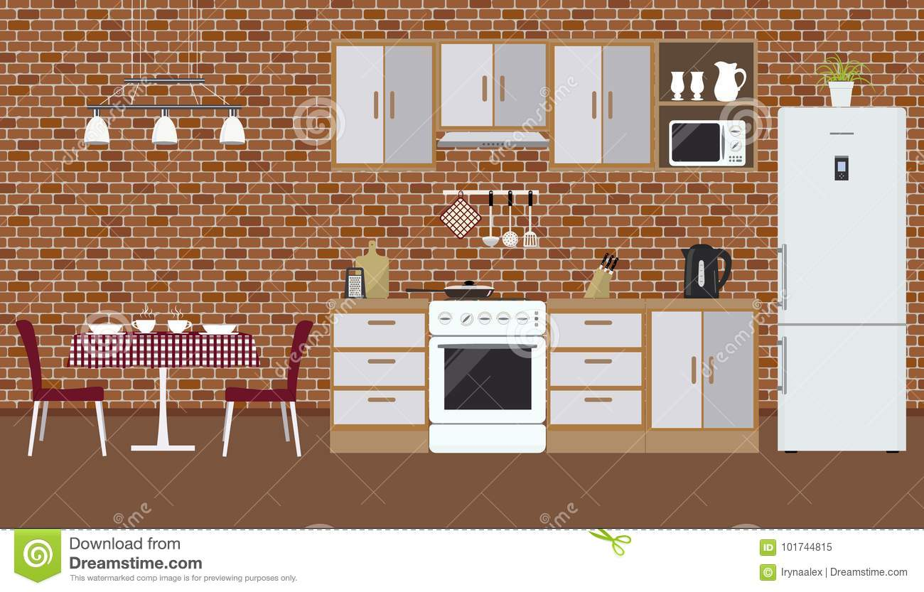 Brick Vector Picture Brick Veneers: Kitchen On The Brick Wall Background Stock Vector