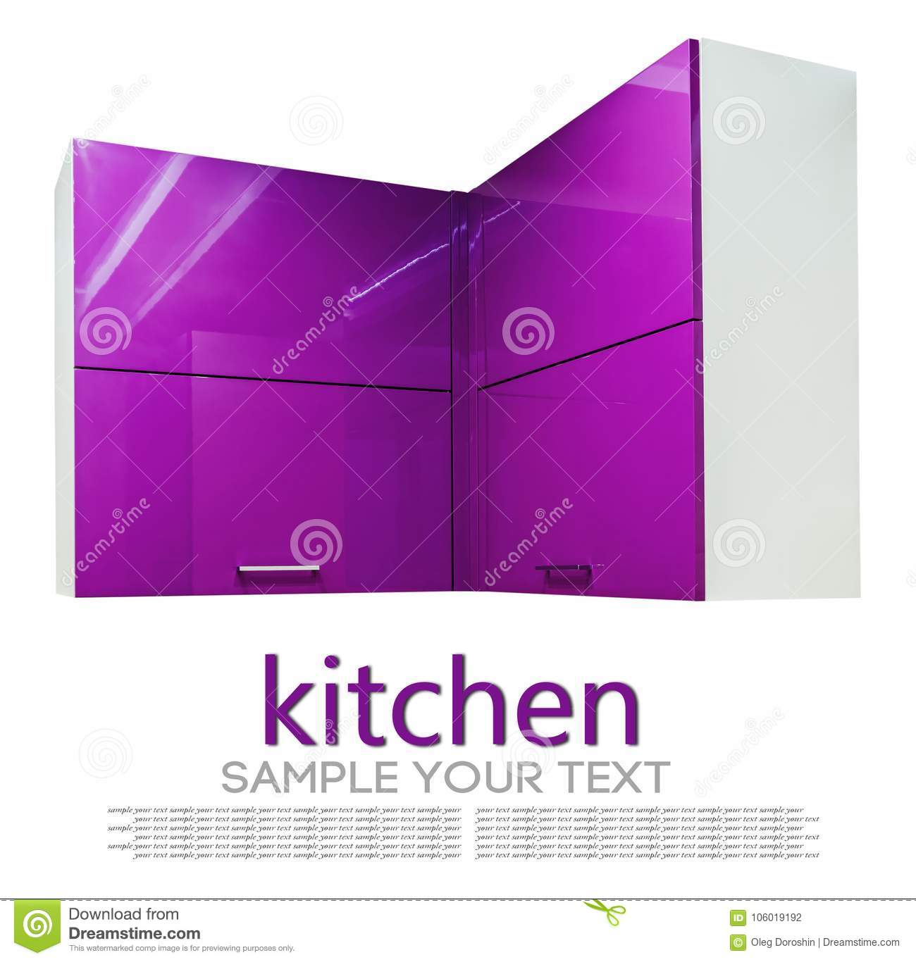 Kitchen Cabinet With Chipboard Shelves With Closed Doors Purple